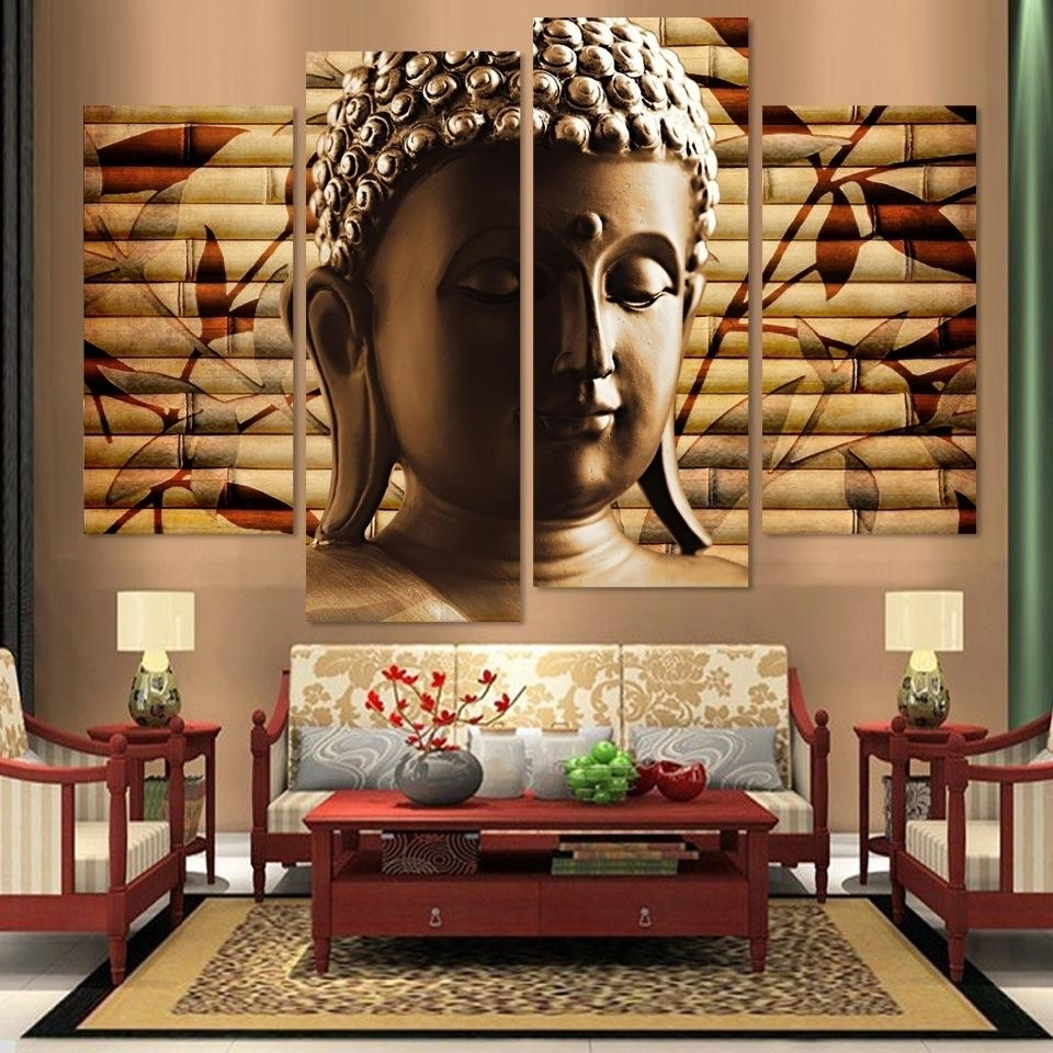 Popular Wall Art In Current Popular Buddha Room Decor 4 Panel Canvas Painting Statue Abstract (Gallery 18 of 20)