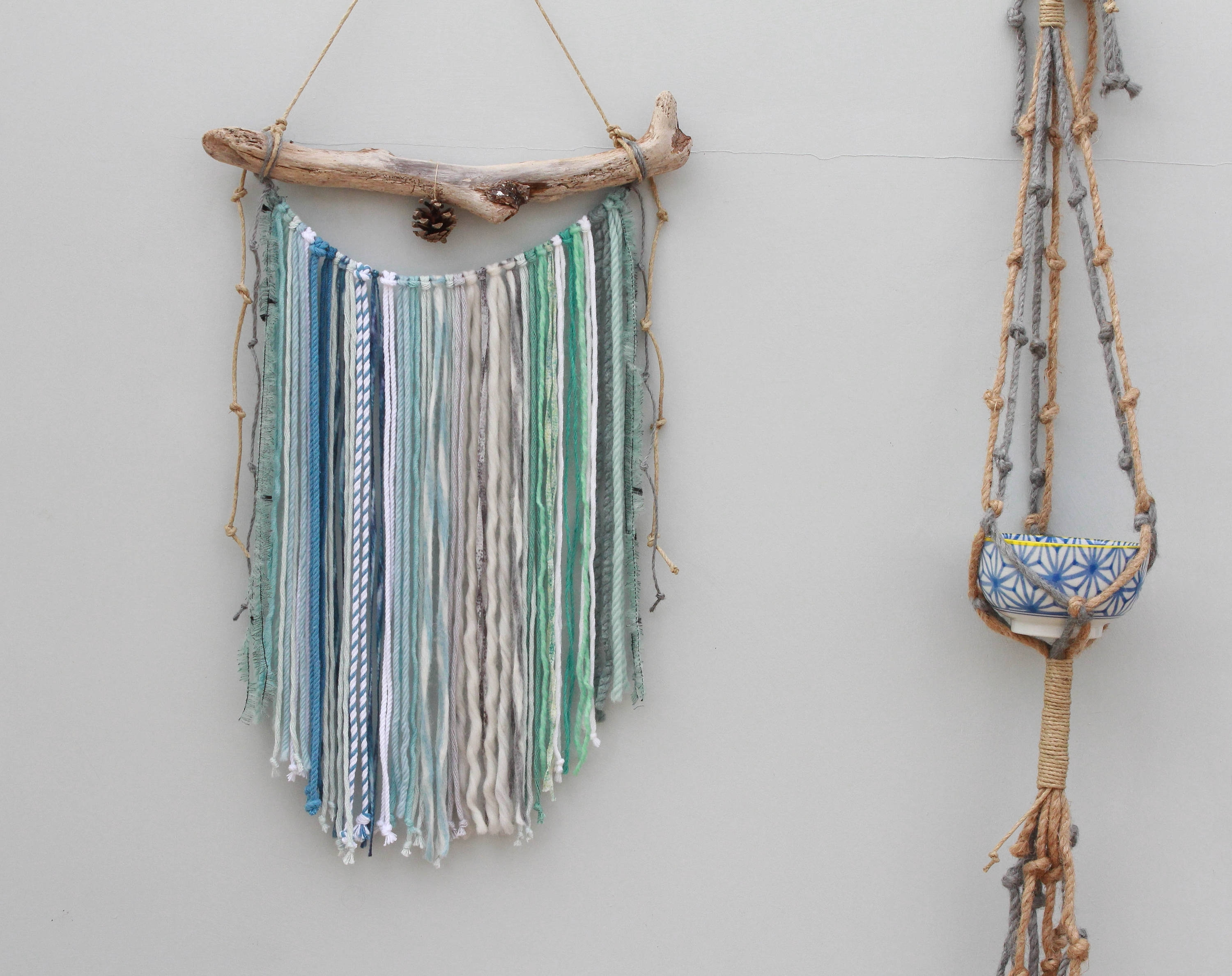 Popular Wall Hanging/ Blue Green Macrame Wall Hanging/ Mixed Media Wall Inside Yarn Wall Art (Gallery 6 of 20)