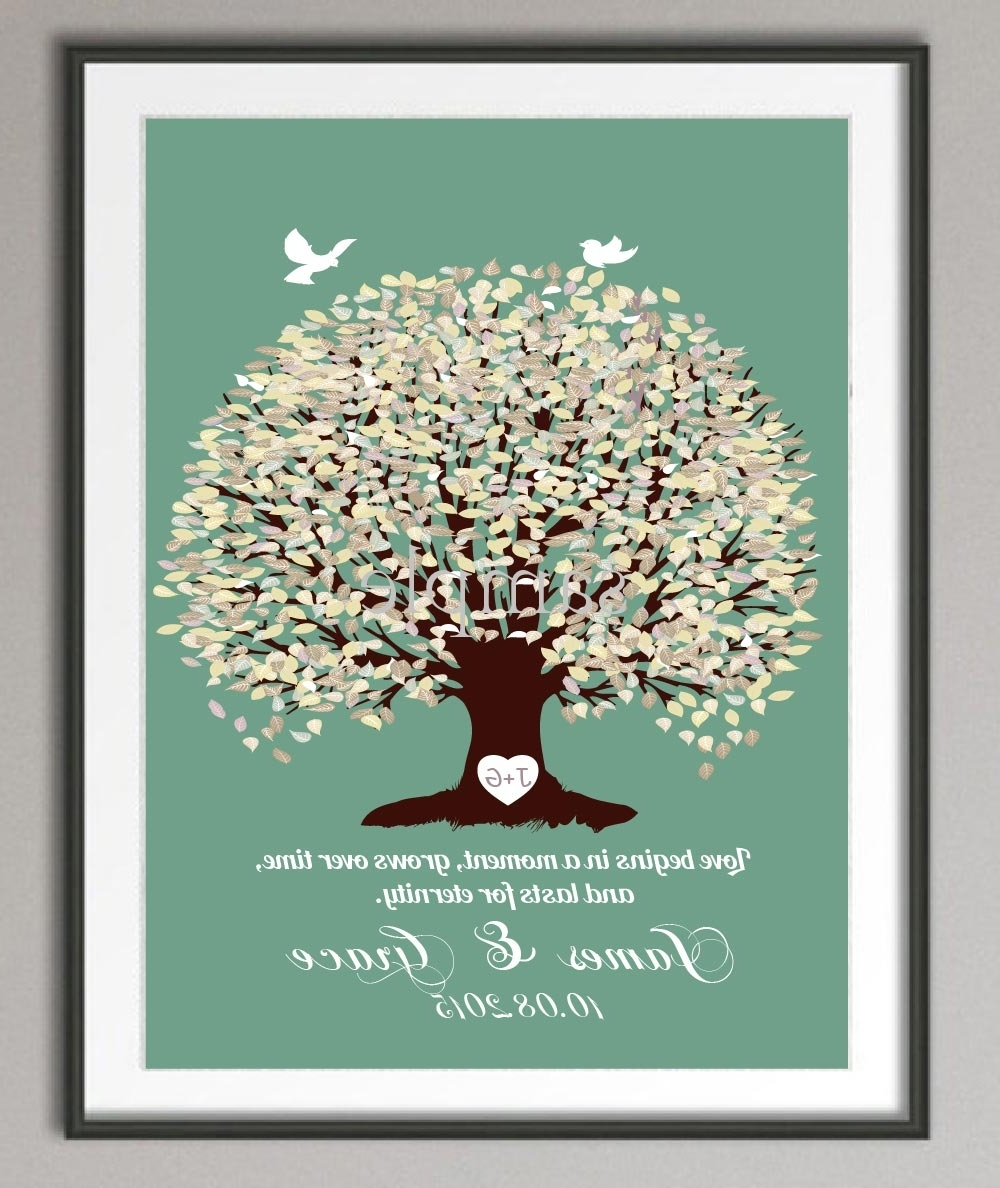 Popular Wedding Anniversary Poster Family Tree Wall Art Print Pictures Regarding Personalized Wall Art (View 12 of 15)