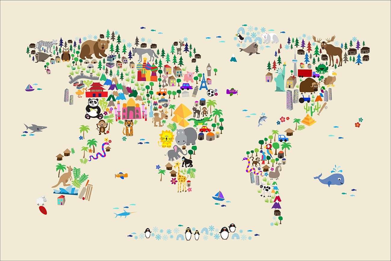 Popular World Map Wall Art For Kids In Ivory Animal Map Of The World Wall Art Canvasmichael Tompsett (View 14 of 20)