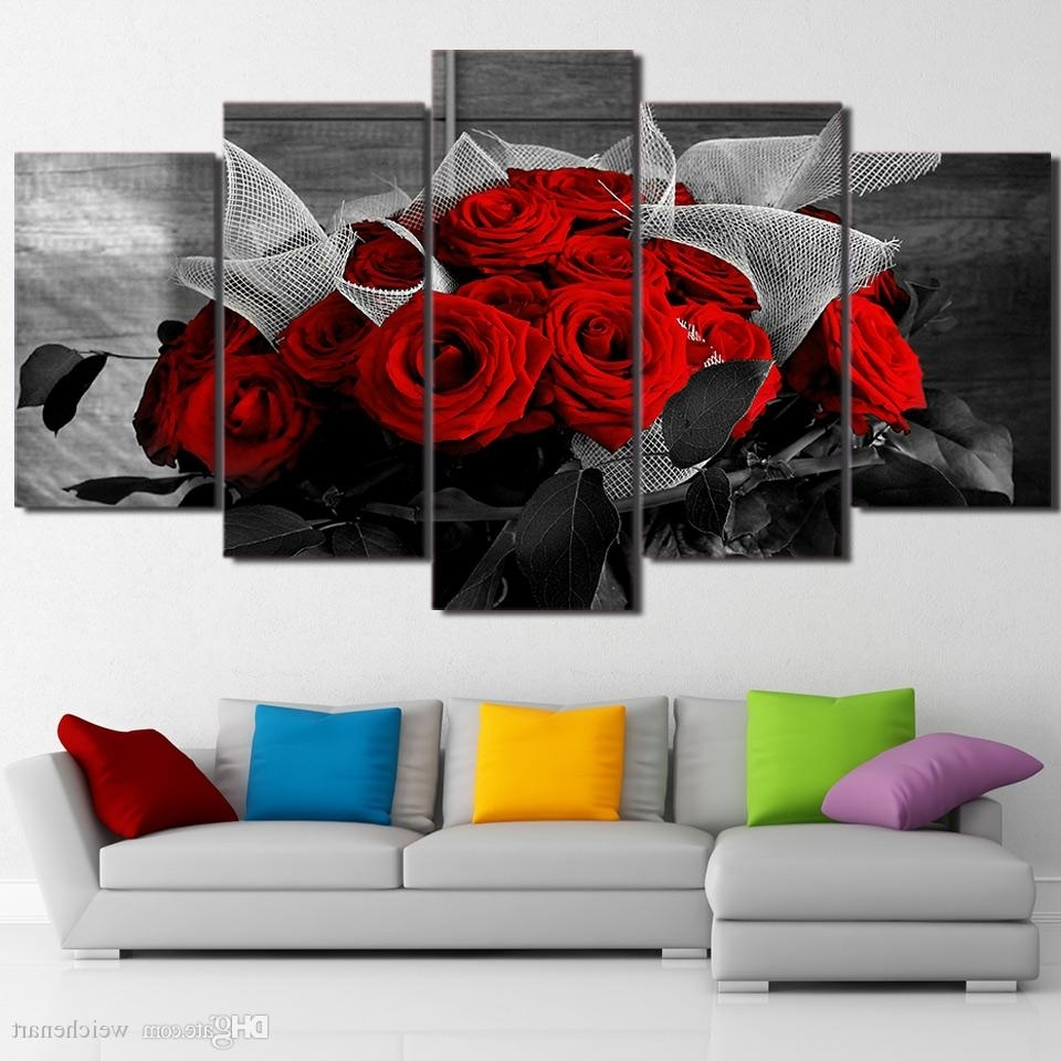Preferred 2018 5 Panel Wall Art On Canvas Beautiful Red Rose Modular Large Inside Large Framed Canvas Wall Art (View 6 of 20)