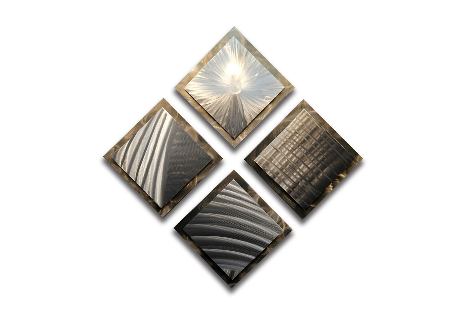 Preferred 4 Squares  Gold Silver 35 X 35 – Metal Wall Art Abstract Sculpture With Regard To Silver Metal Wall Art (View 9 of 20)