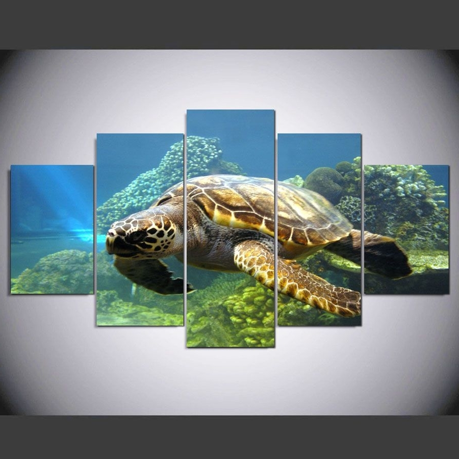 Preferred 5 Pieces Turtles Canvas Painting Pictures For Living Room The Within Sea Turtle Canvas Wall Art (View 10 of 20)