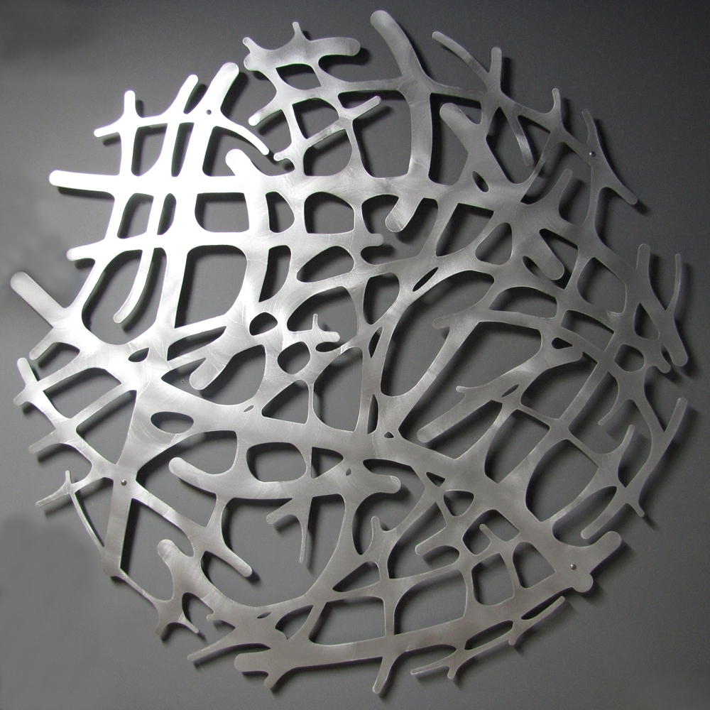 "Preferred Art Nouveau Web No. 1 In Brushed Aluminum 46"" Circle Wall Sculpture Regarding Circle Wall Art (Gallery 5 of 20)"