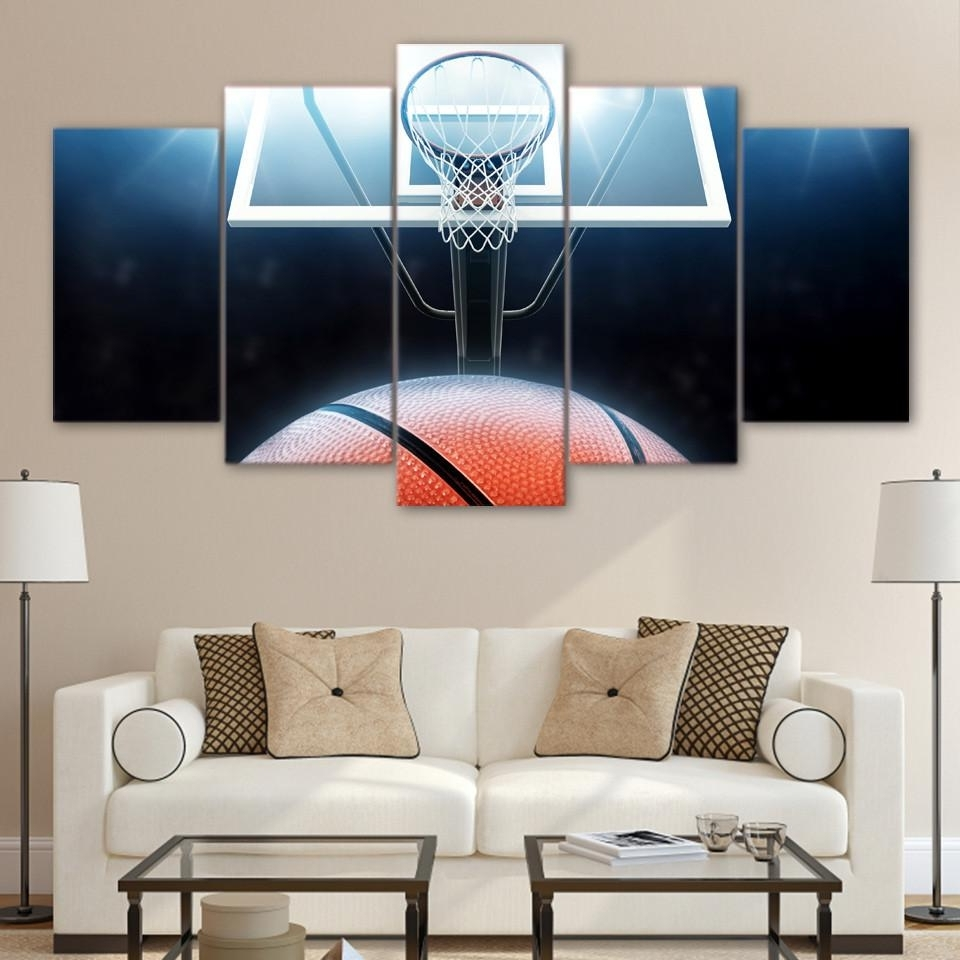 Preferred Basketball Wall Art In 5 Panel Canvas Wall Art (Gallery 7 of 15)