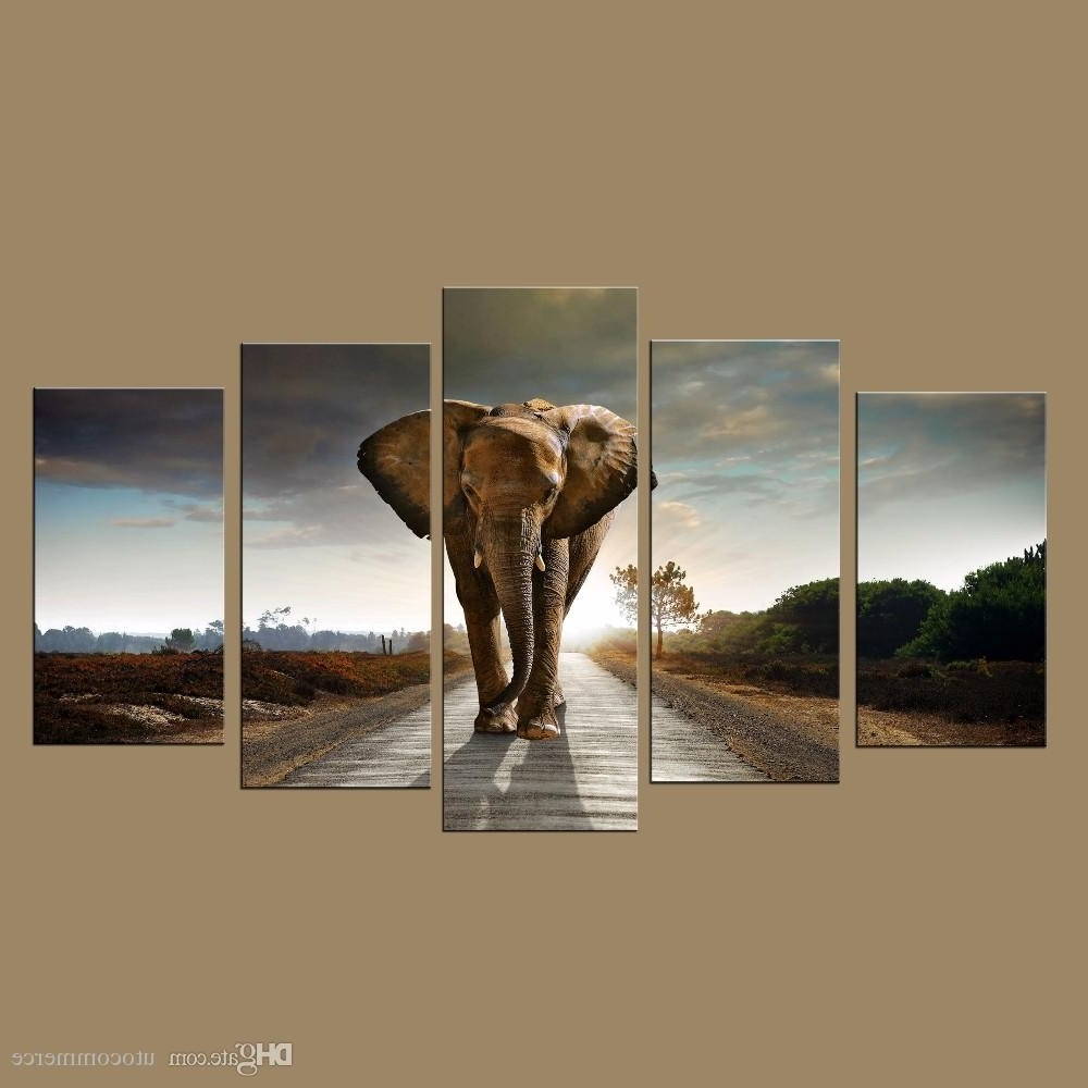 Preferred Elephant Wall Art Intended For Modern Wall Art Prints Canvas Elephant Painting From Digital Picture (Gallery 2 of 15)