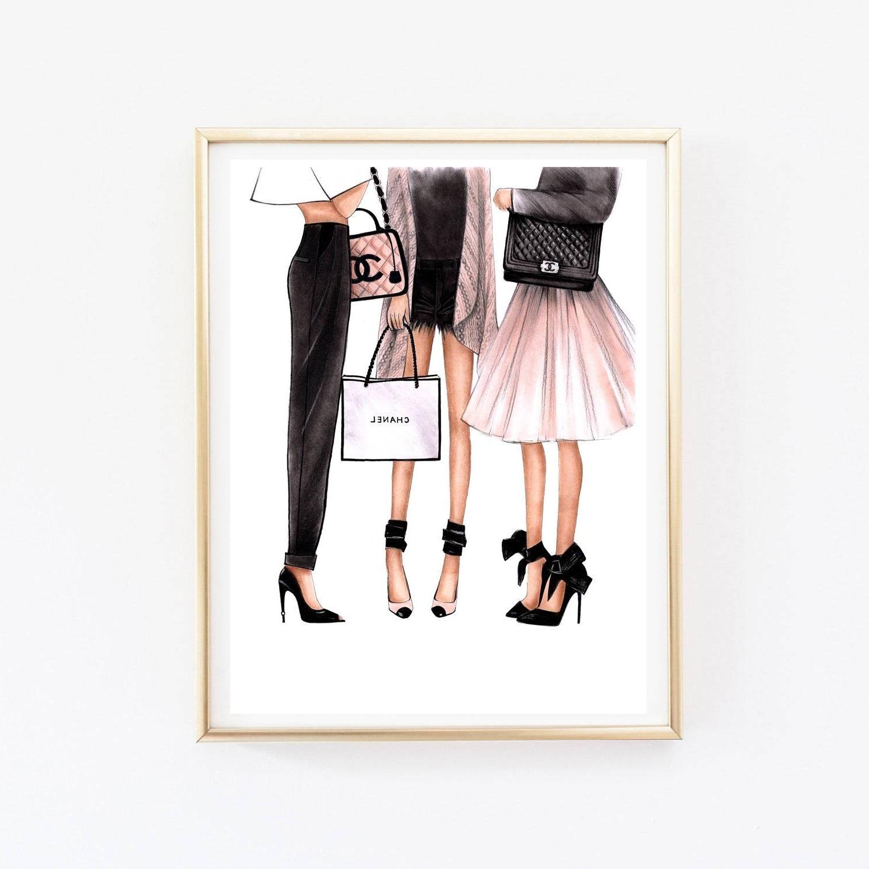 Preferred Fashion Illustration Chanel Art Chanel Print Fashion Wall Art In Fashion Wall Art (View 19 of 20)