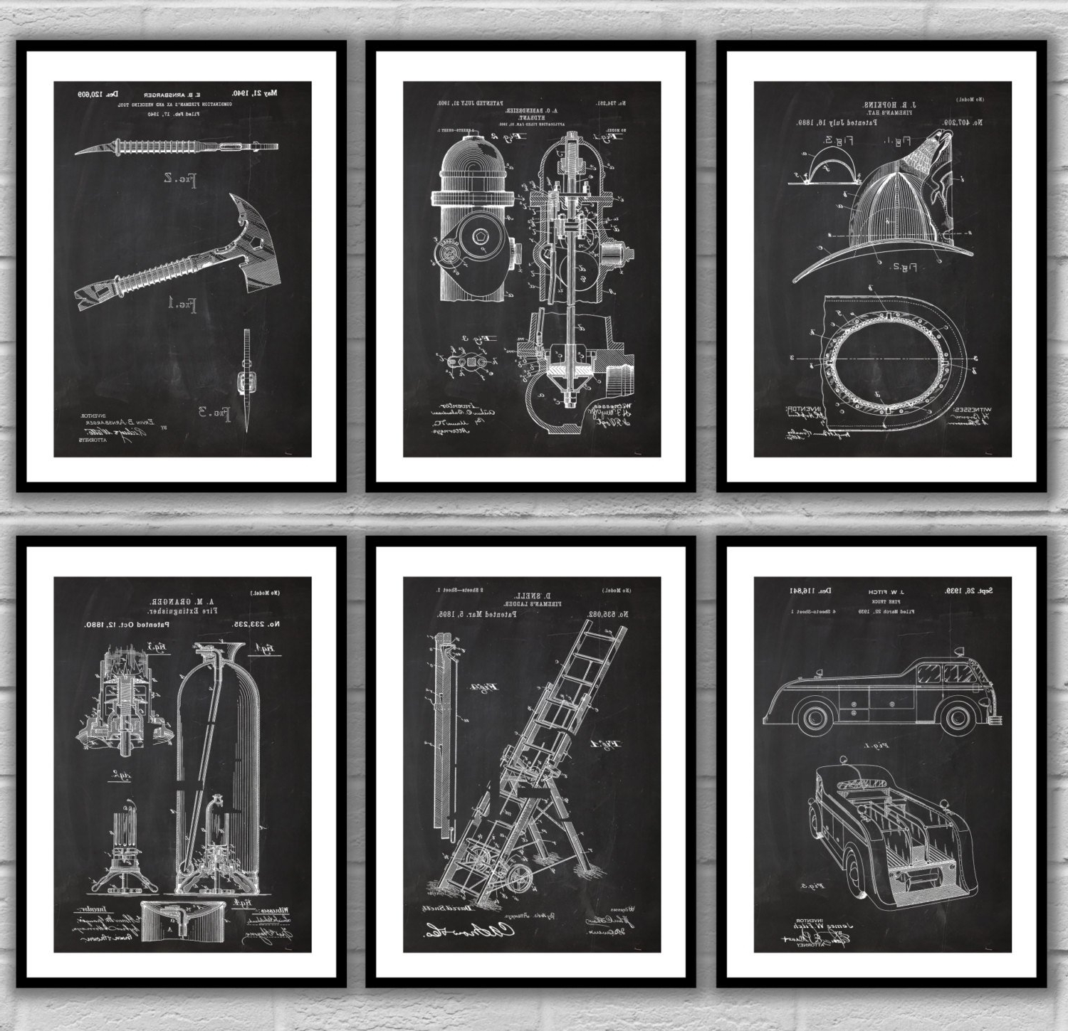 Preferred Firefighter Wall Art In Fire Man Patent Posters, Firefighter Patent, Fire Truck Wall Art (Gallery 5 of 20)