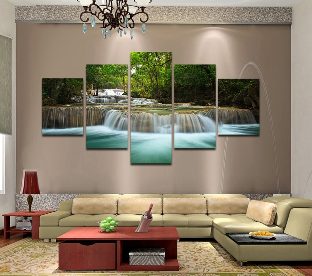 Preferred Framed Wall Art For Living Room For 5 Panels Huge Hd Beautiful Green Waterfall Top Rated Canvas Print (View 8 of 20)