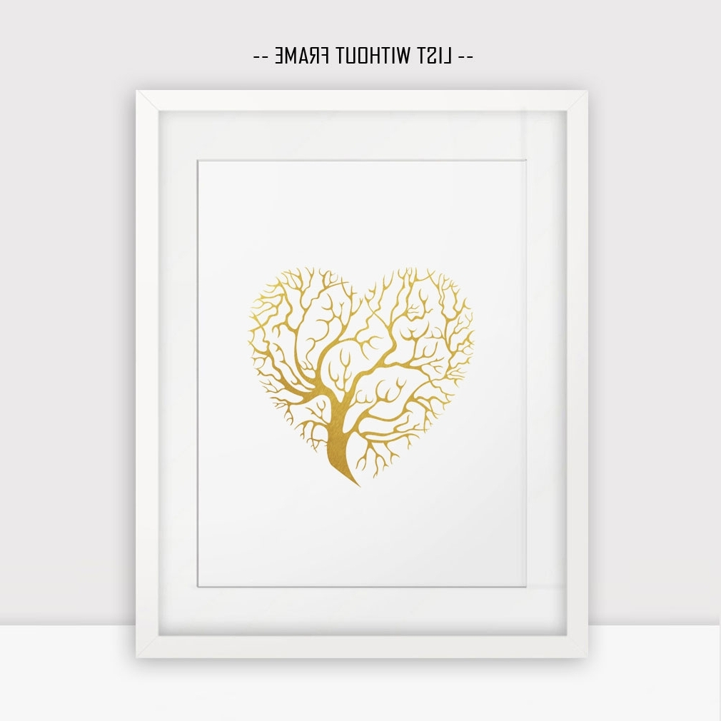 Preferred Gold Foil Wall Art With Regard To Love Hearts Gold Foil Wall Print Golden Tree Wall Hanging Print (Gallery 11 of 20)