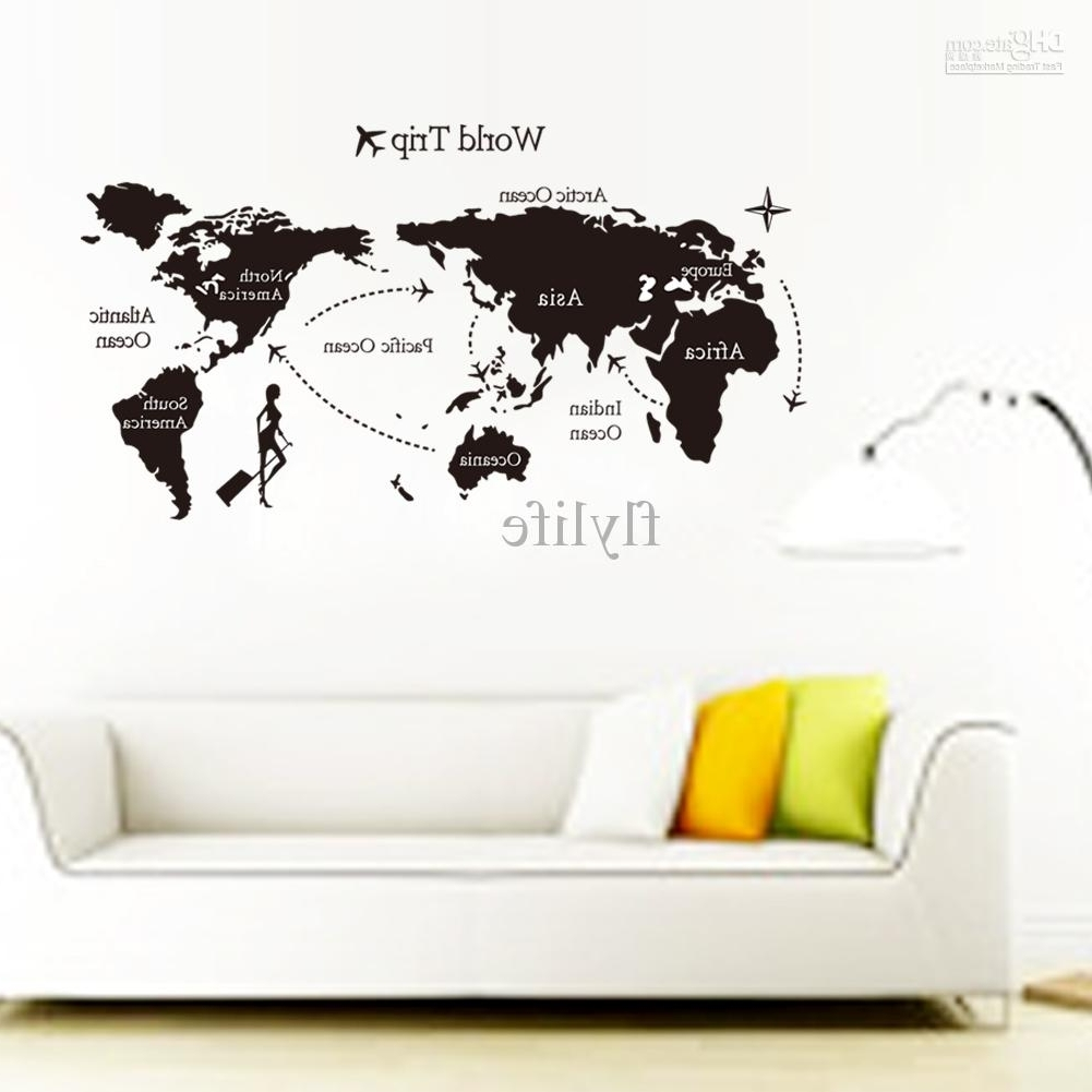 Preferred Large Black World Map Wall Decals And Decor Stickers For Living Room With Vinyl Wall Art World Map (Gallery 3 of 20)