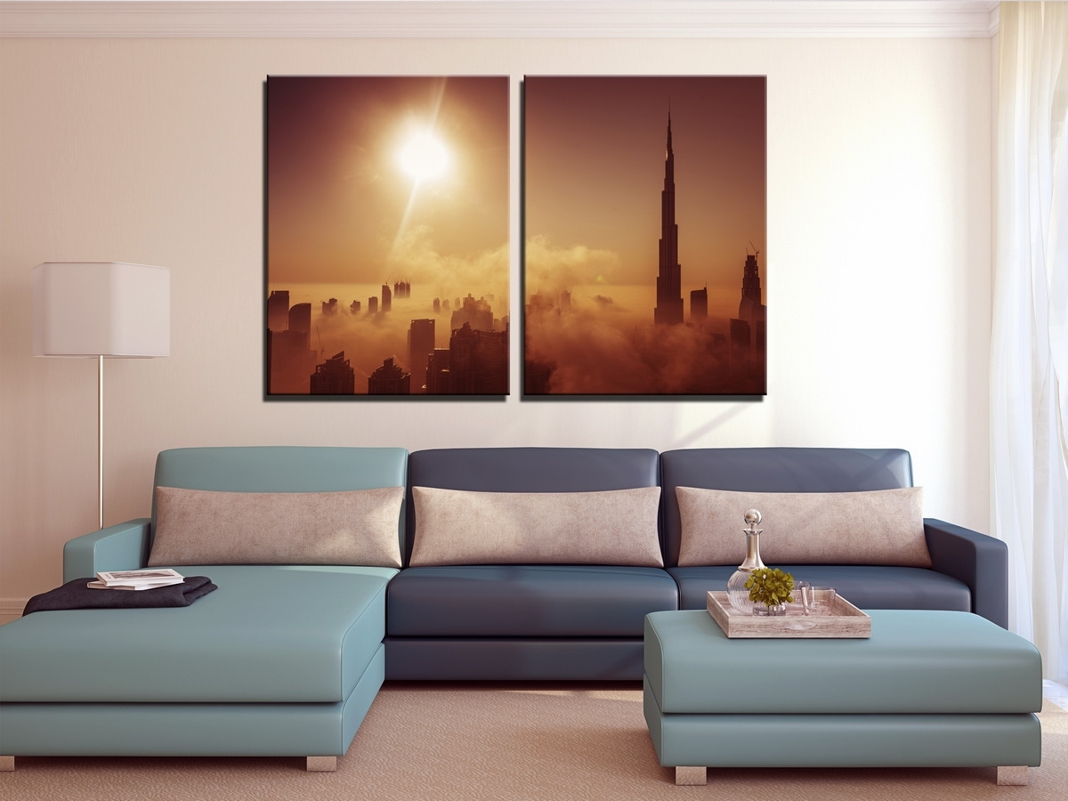 Preferred Large Dubai Burj Khalifa Canvas Print, Dubai Skyline Set Of 3 Panel With Regard To Panel Wall Art (View 12 of 20)