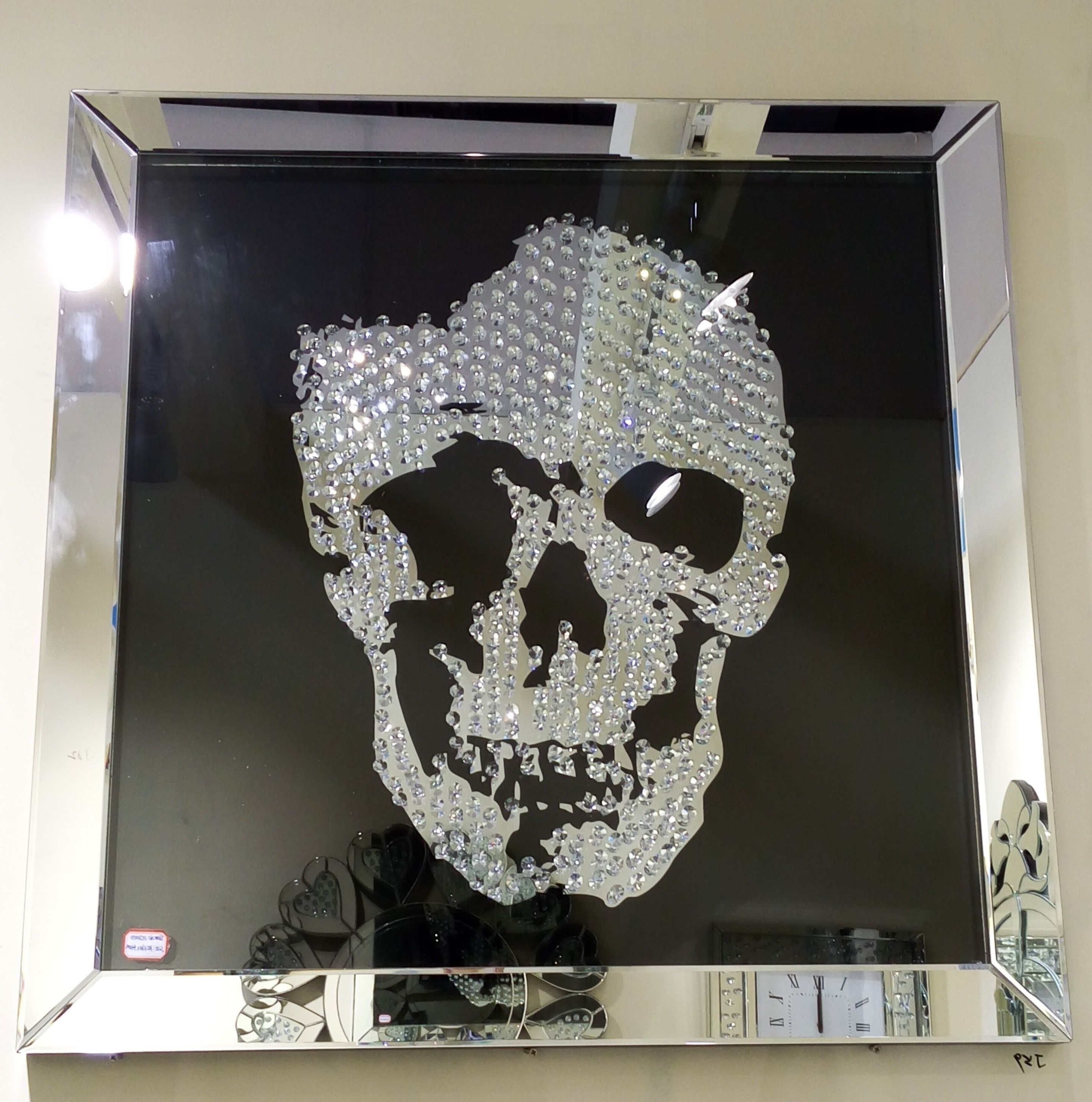 Preferred Mirrored Wall Art Regarding Swarovski Crystal Skull Wall Art With A Silver Mirrored Frame And (View 14 of 20)