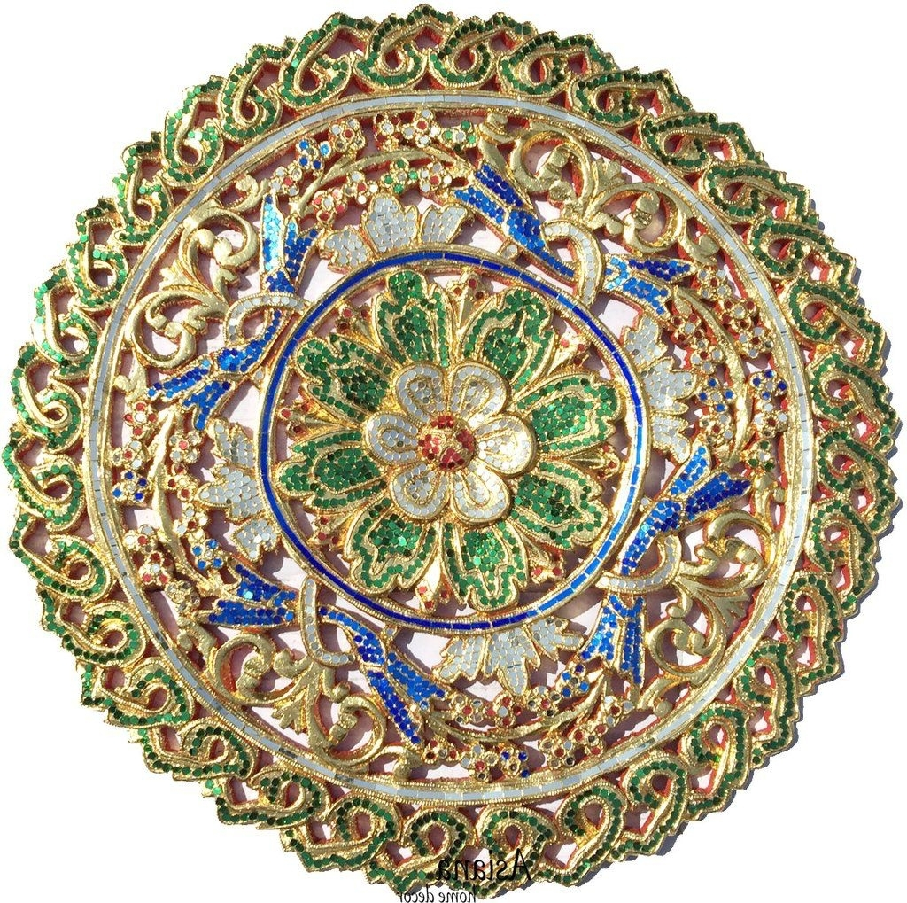 Preferred Mosaic Wall Art. Medallion Gold Carved Wood Wall Plaque Home Decor Intended For Wood Medallion Wall Art (Gallery 11 of 20)