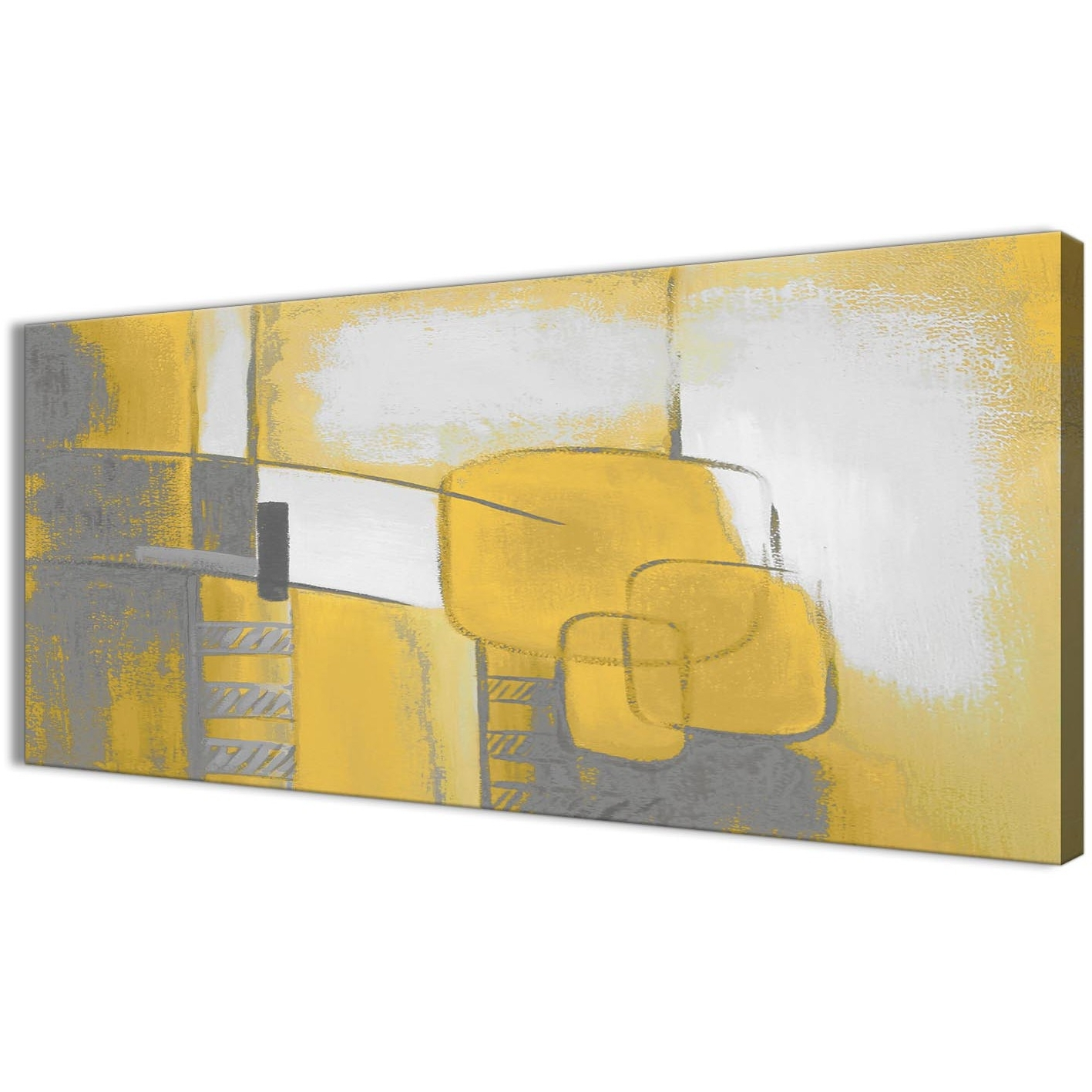 Preferred Mustard Yellow Grey Painting Bedroom Canvas Wall Art Accessories Intended For Yellow Wall Art (Gallery 15 of 20)