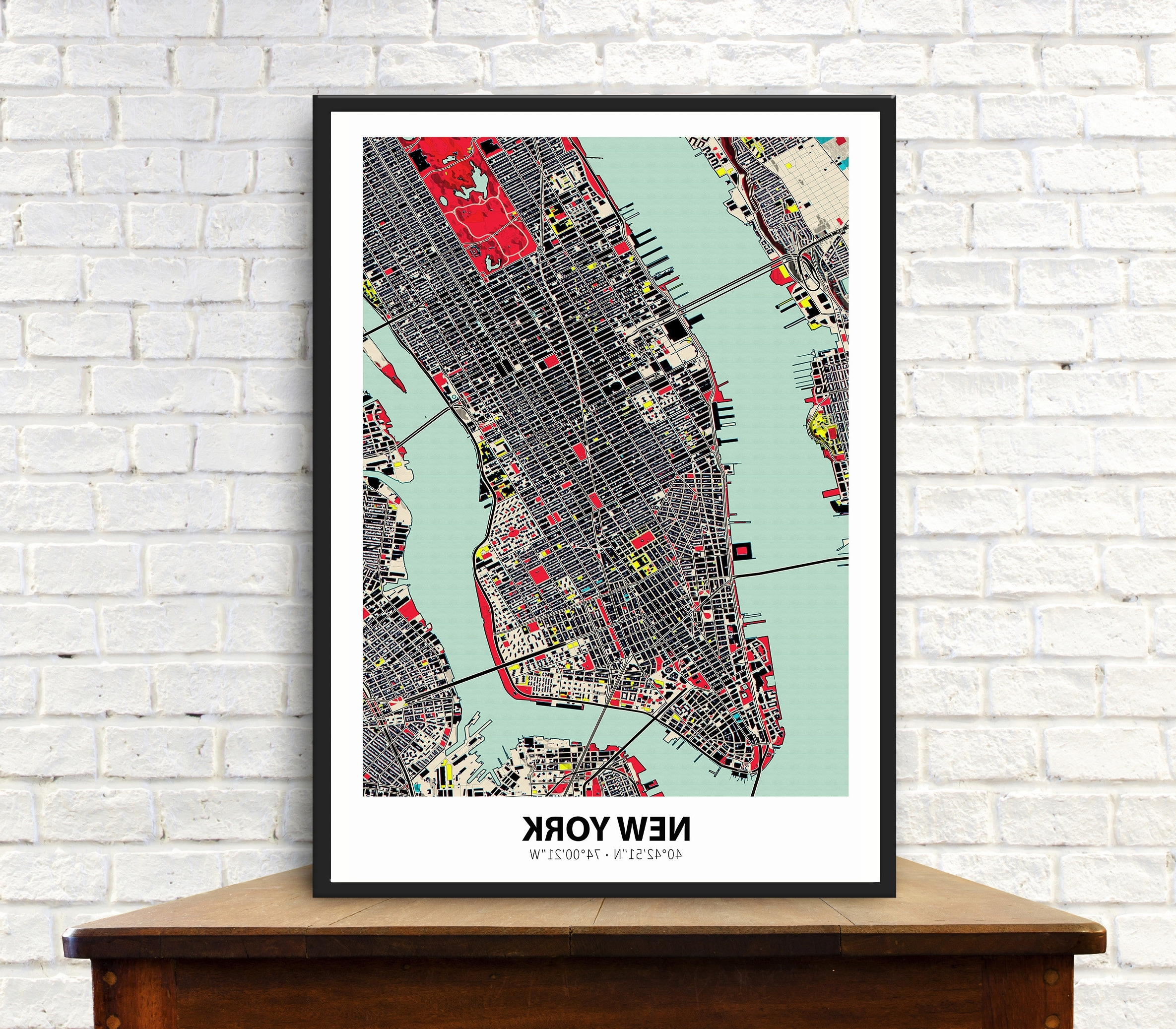 Preferred New York City Map Wall Art Intended For Manhattan Map New York Map City Map Office Wall Art Map (View 18 of 20)