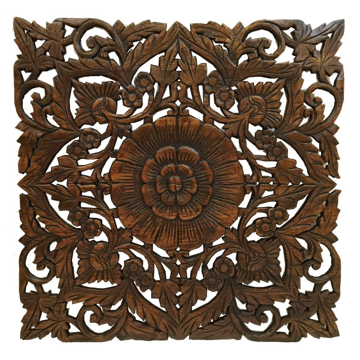 Preferred Oriental Carved Floral Wall Decor. Unique Asian Wood Wall Art (View 19 of 20)