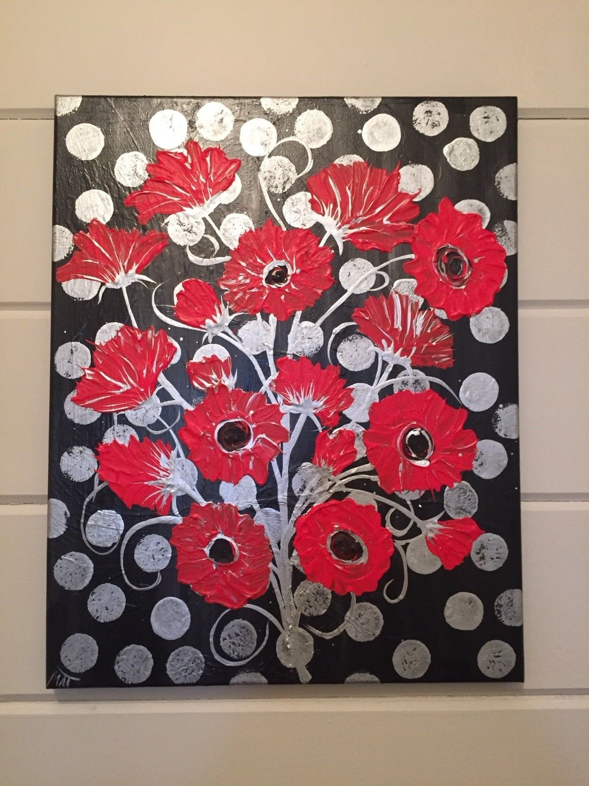 Preferred Red Wall Art With Regard To Abstract Painting Framed Original Silver Black Red Floral Wall Art (View 15 of 15)