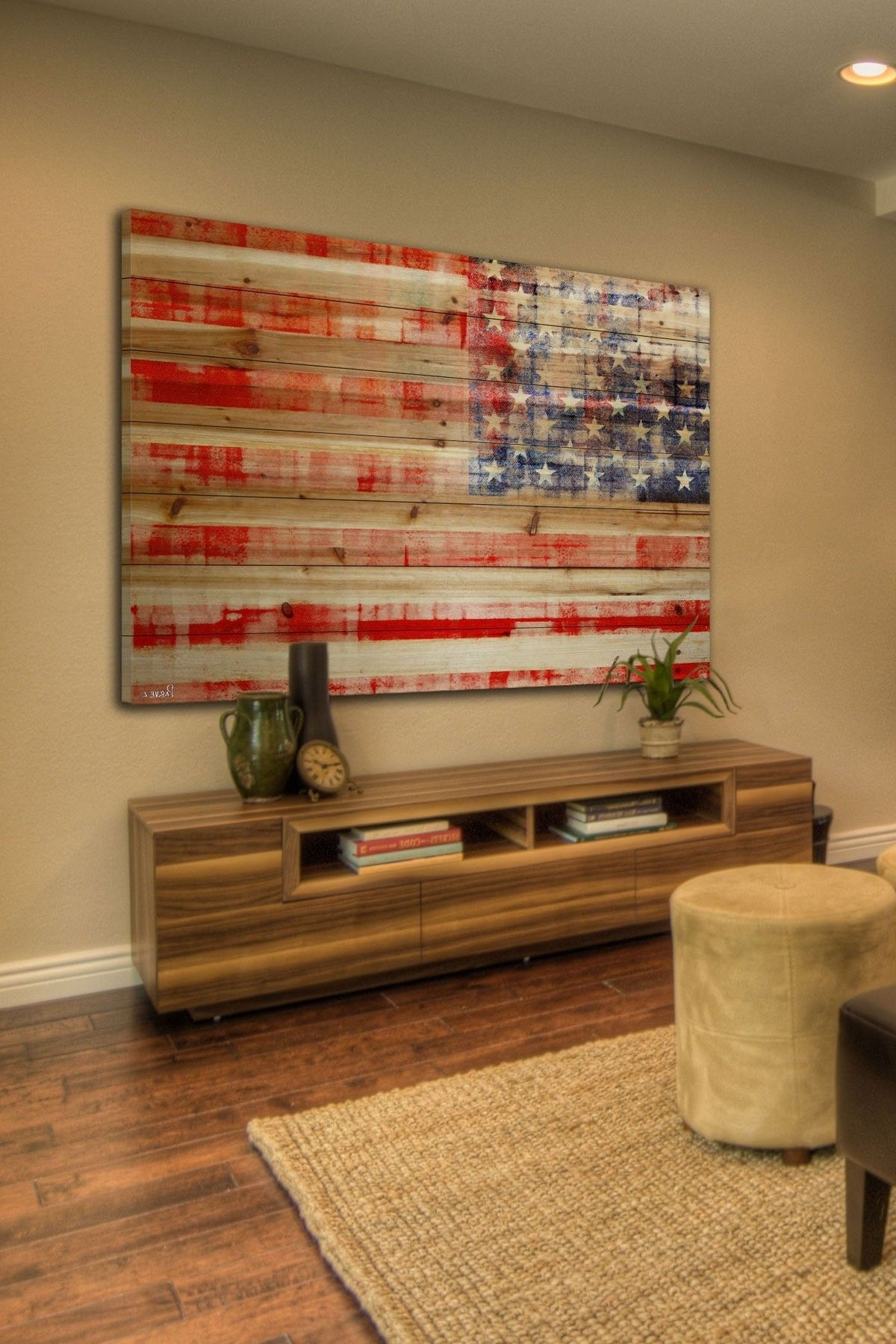 Preferred Wooden American Flag Wall Art For American Flag Brown Distressed Wood Wall Artmarmont Hill Inc. On (Gallery 8 of 20)