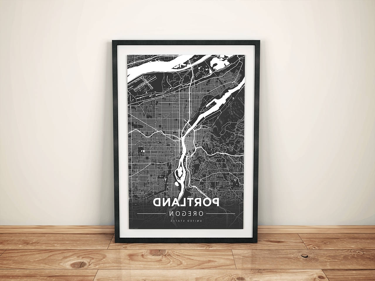 Premium Map Print Of Portland Oregon – Modern Contrast – Unframed For Best And Newest Portland Map Wall Art (View 17 of 20)