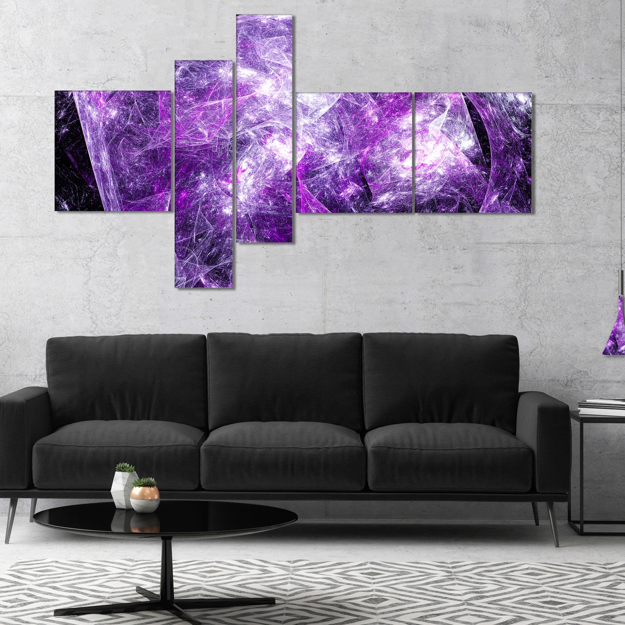 Purple And Grey Wall Art In Recent Designart 'mystic Purple Fractal' Abstract Wall Art Canvas – Free (View 13 of 20)