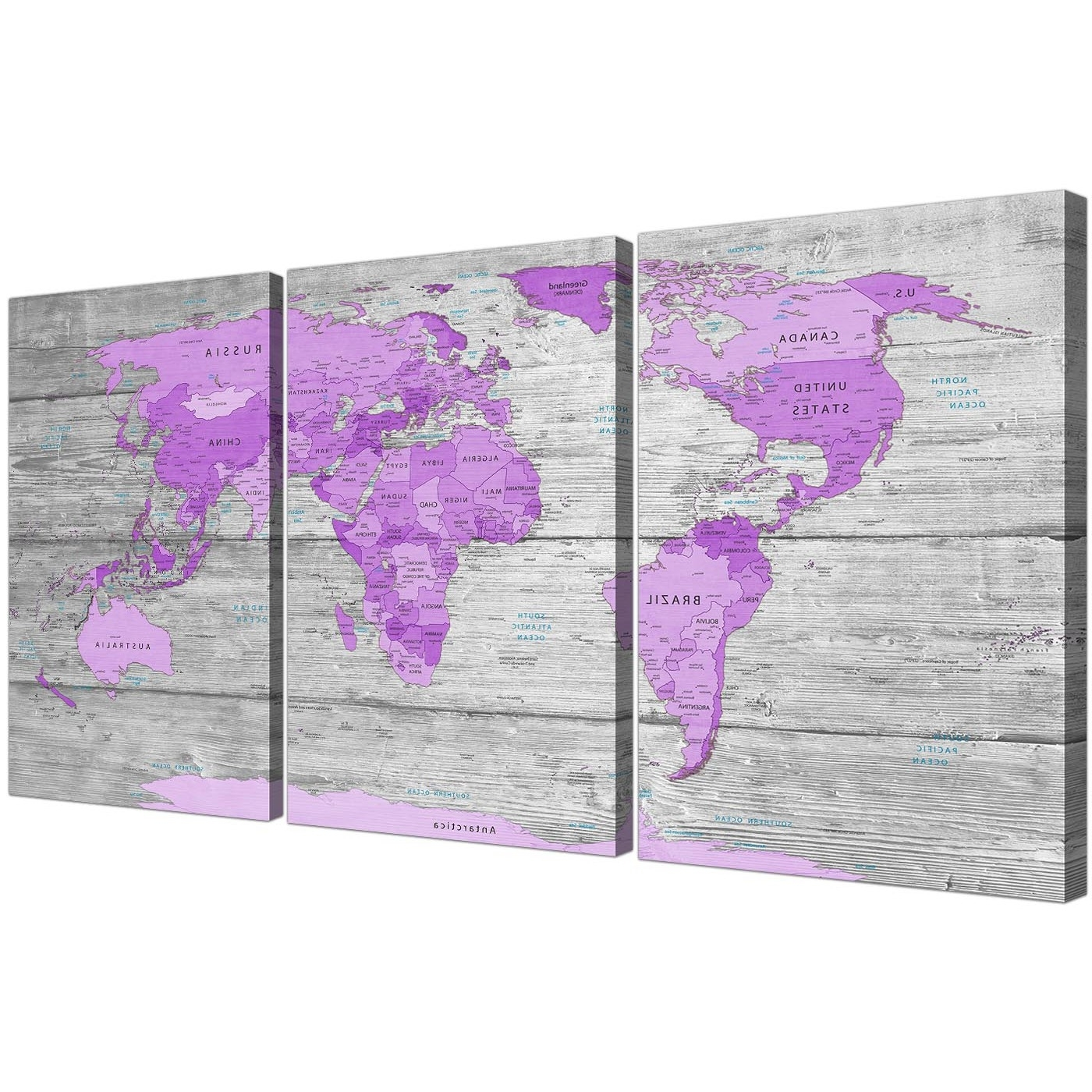 Purple And Grey Wall Art Throughout Latest Large Purple And Grey Map Of World Atlas Canvas Wall Art Print (View 15 of 20)