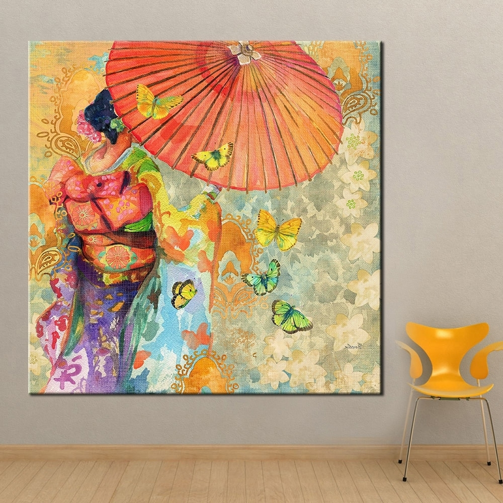 Qkart Wall Art Japanese Kimono Oil Painting On Canvas Wall Picture Within Most Popular Japanese Wall Art (Gallery 8 of 20)