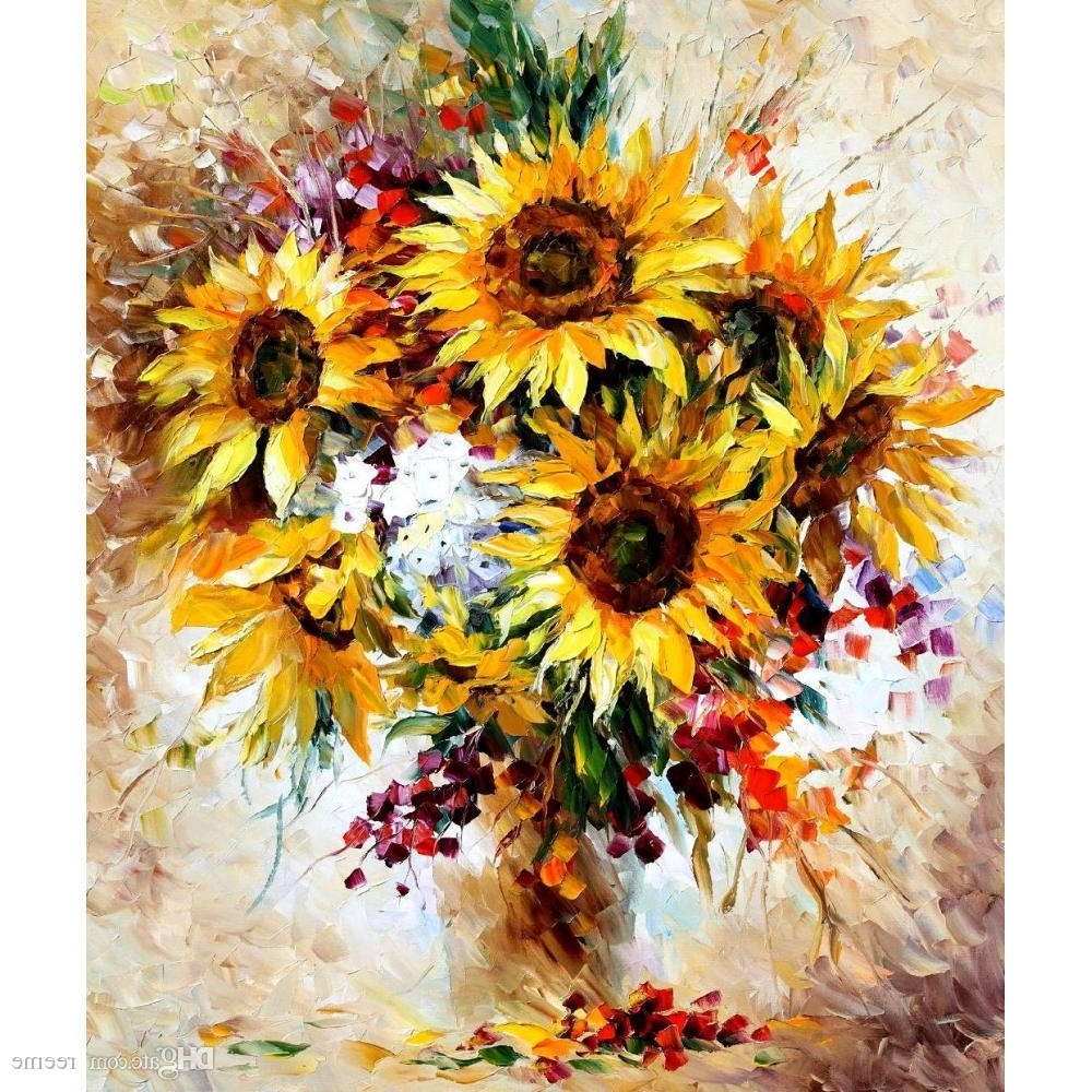 Recent 2018 Modern Wall Art Sunflowers Ii Leonid Afremov Landscapes Oil With Sunflower Wall Art (View 6 of 20)