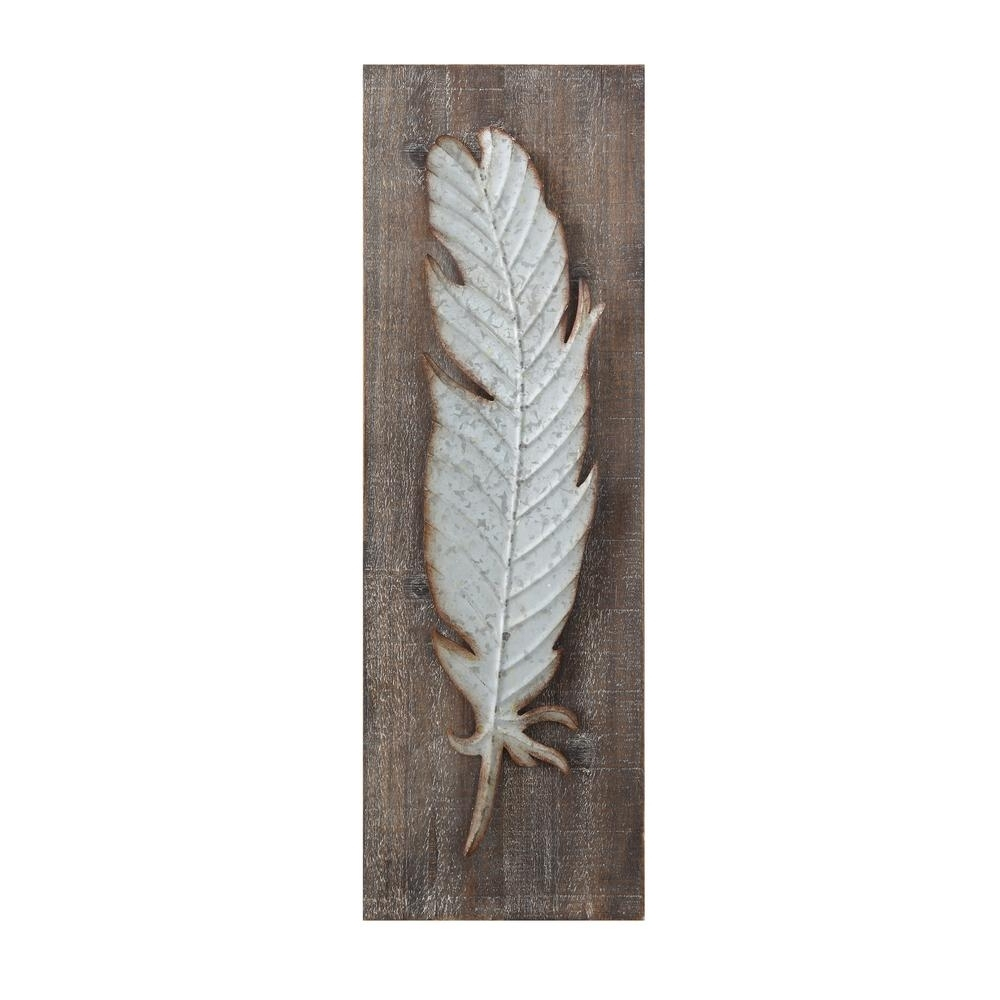 Recent 3R Studios Metal Feather Wood And Metal Wall Sculpture Da5884 – The With Feather Wall Art (Gallery 14 of 20)