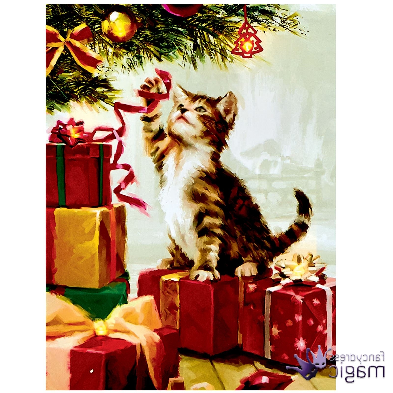 Recent 40 X 30Cm Christmas Animal Scene Led Canvas Battery Operated Cat Dog Within Cat Canvas Wall Art (Gallery 19 of 20)