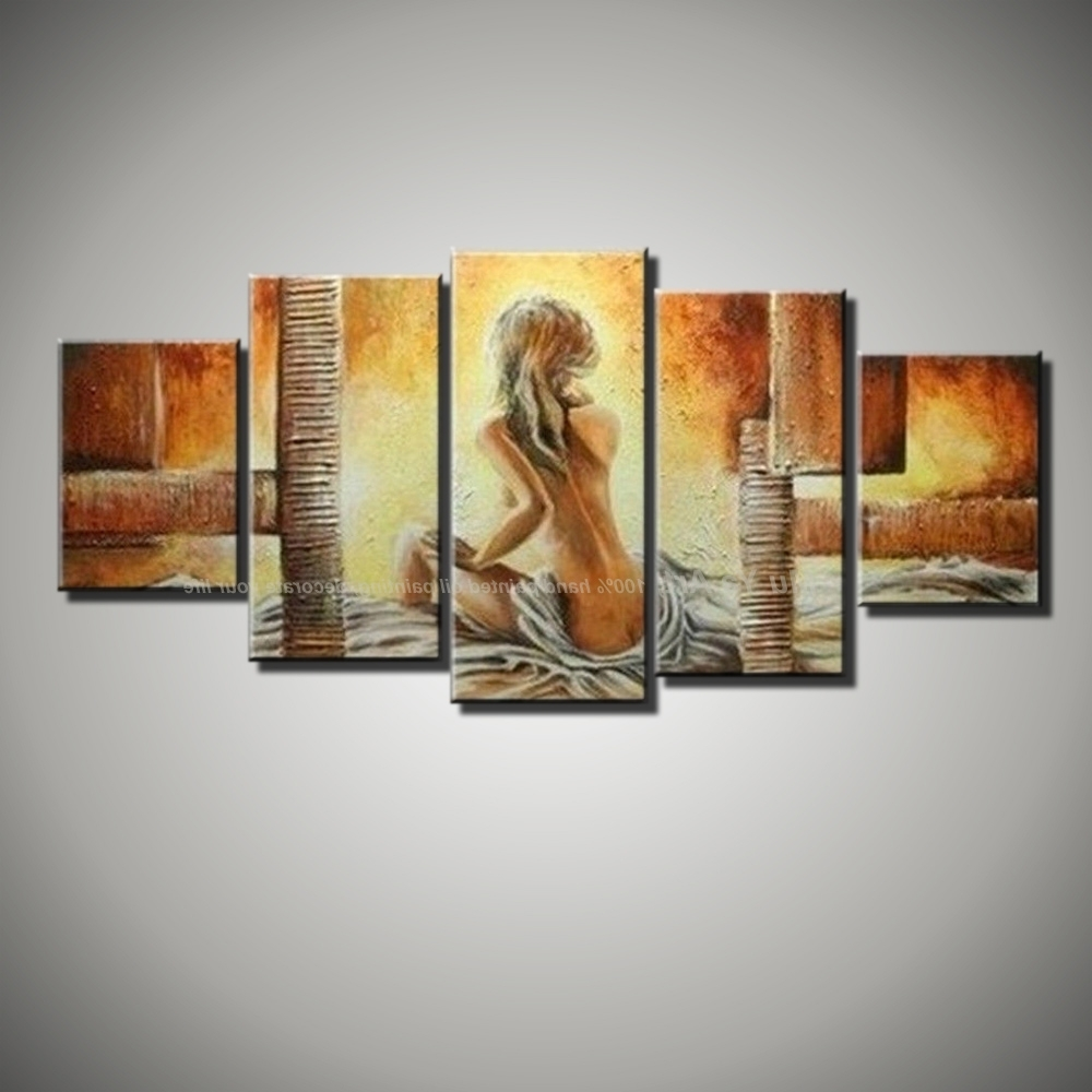 Recent 5 Piece Wall Art With Regard To 5 Piece Canvas Wall Art Modern Abstract Sexy Love Hand Painted (Gallery 20 of 20)
