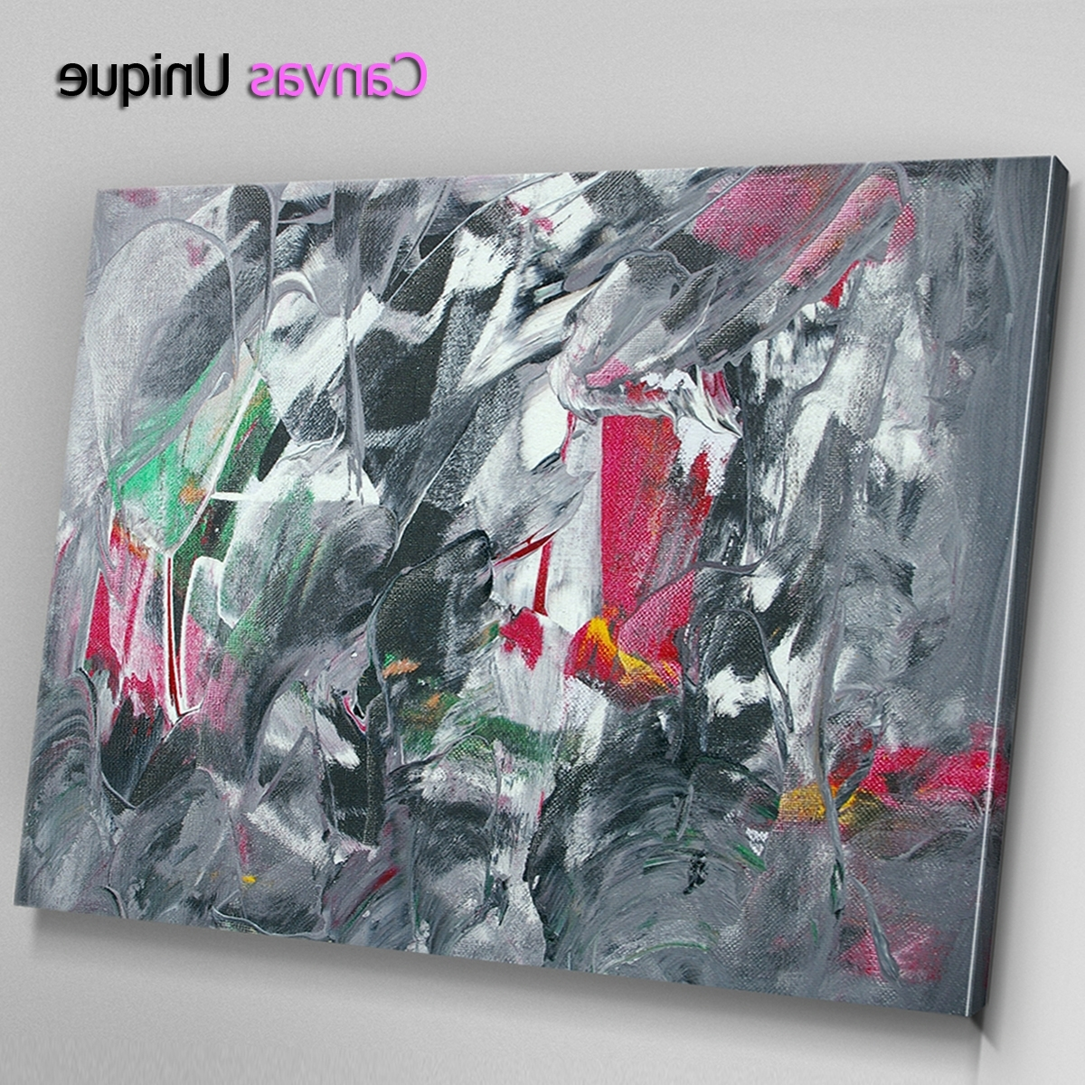 Recent Ab1543 Grey Red Modern Paint Effect Abstract Wall Art Picture Large With Large Canvas Painting Wall Art (Gallery 16 of 20)