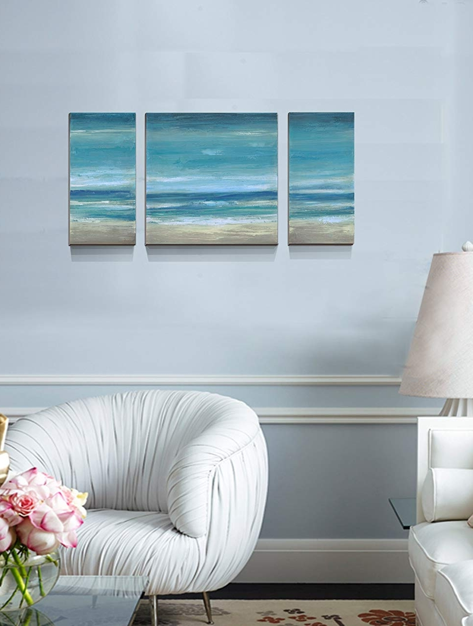 Recent Amazon: Blue Seascape Ocean Canvas Prints Embellishment Within Ocean Wall Art (View 15 of 20)