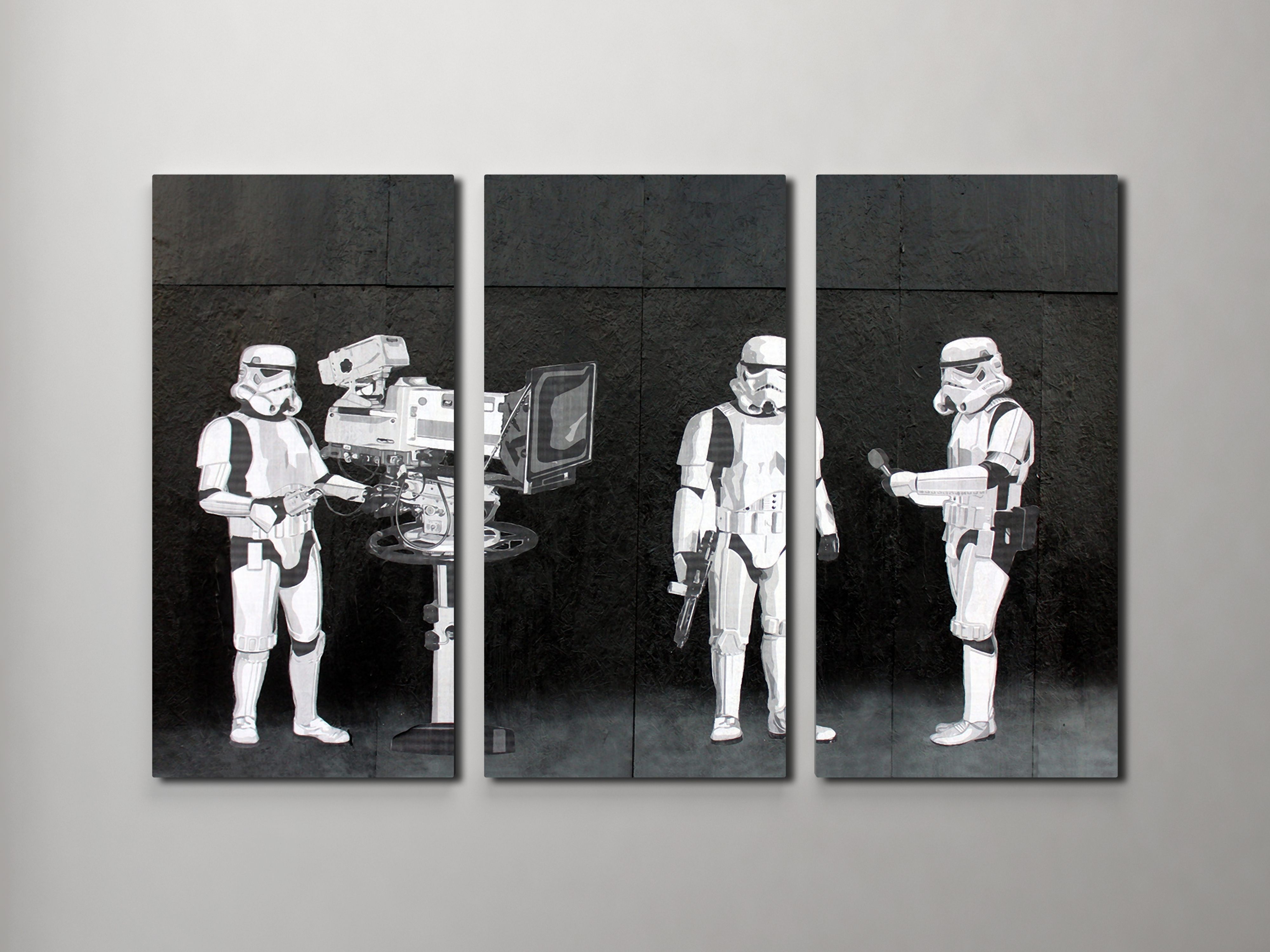 Recent Banksy Stormtroopers Filming Oscars Triptych Canvas Wall Art Throughout Triptych Wall Art (View 10 of 20)