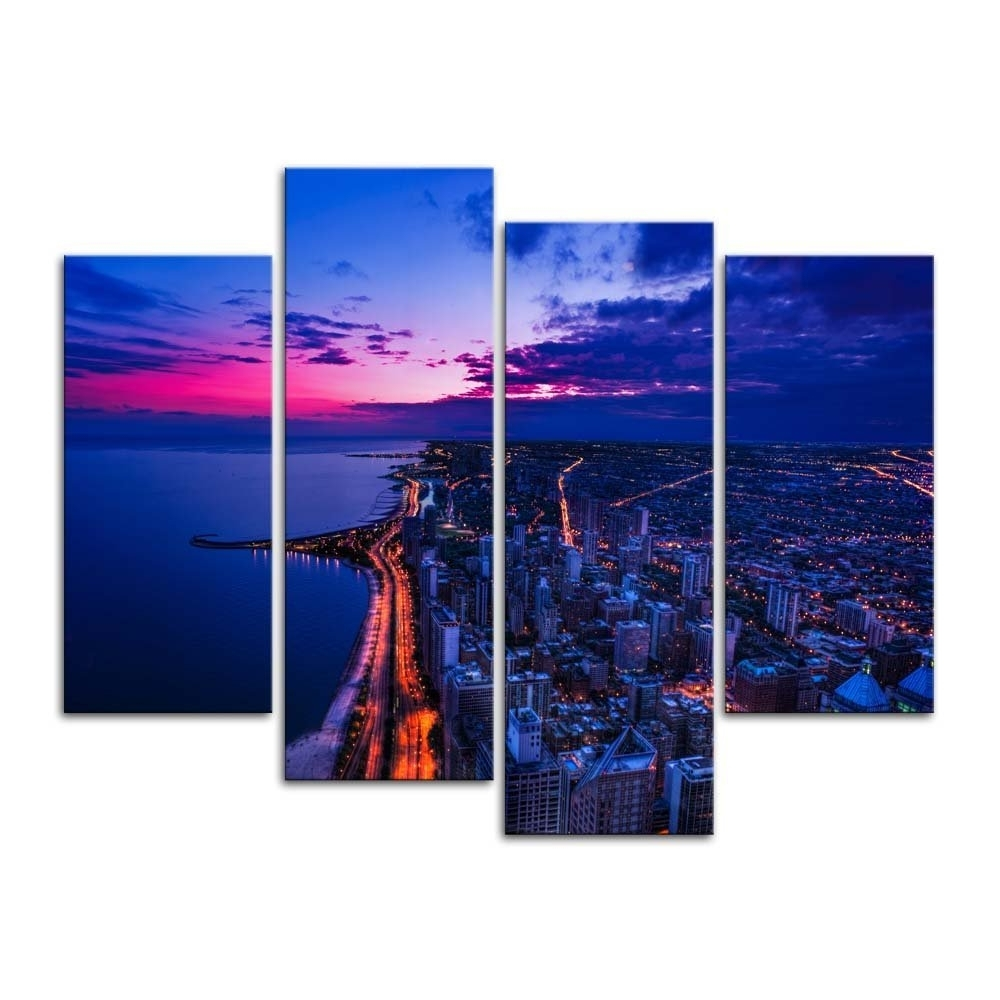 Recent Banmu Canvas Painting Wall Art Print Home Decor Chicago Skyline City Throughout Chicago Wall Art (View 9 of 15)