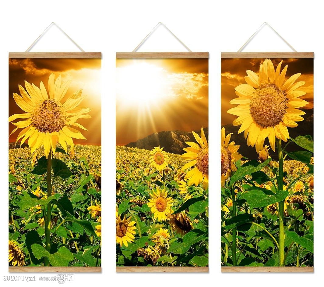 Recent Best Yijiahe Flowers Print Scroll Canvas Painting Sunflower Canvas With Sunflower Wall Art (View 7 of 20)