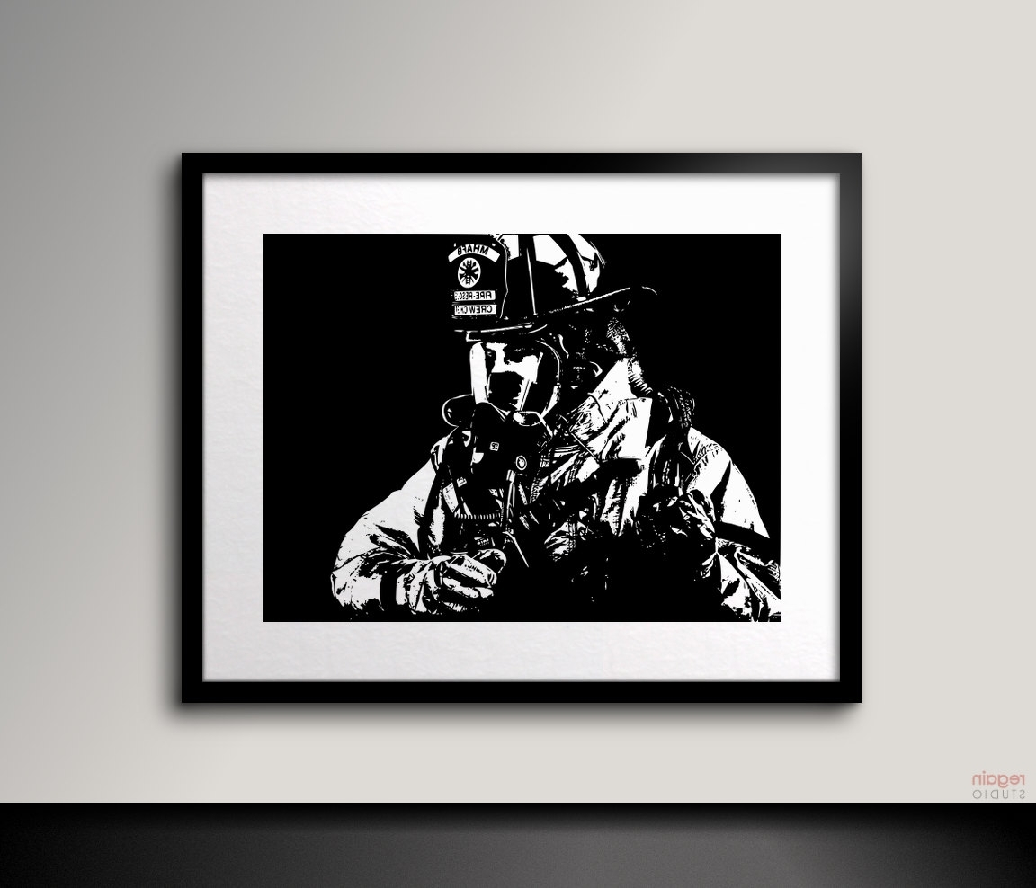 Recent Black And White Art Firefighter Wall Artfireman Decor Black Pertaining To Firefighter Wall Art (Gallery 16 of 20)