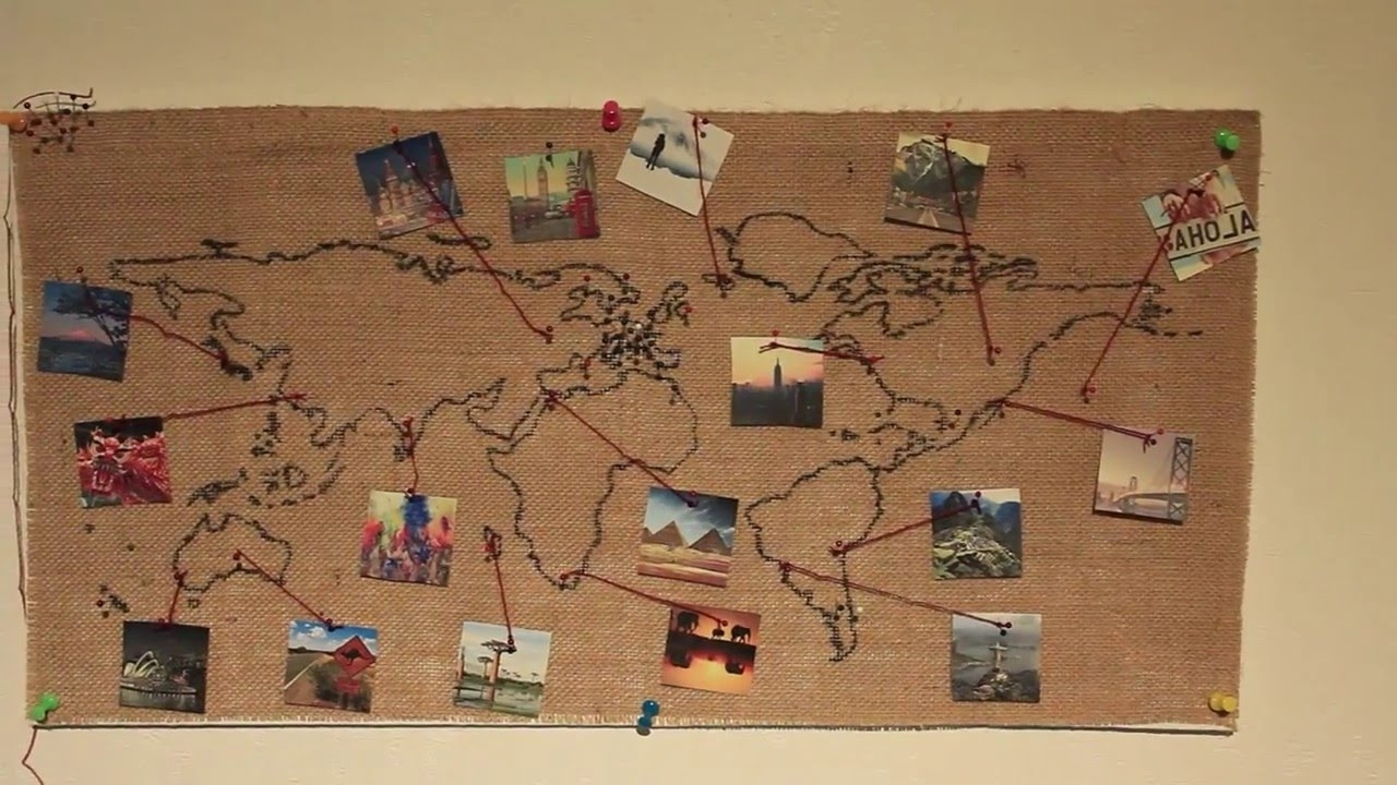 Recent Burlap World Map Wall Decoration (Diy) – Youtube In Diy World Map Wall Art (View 14 of 20)