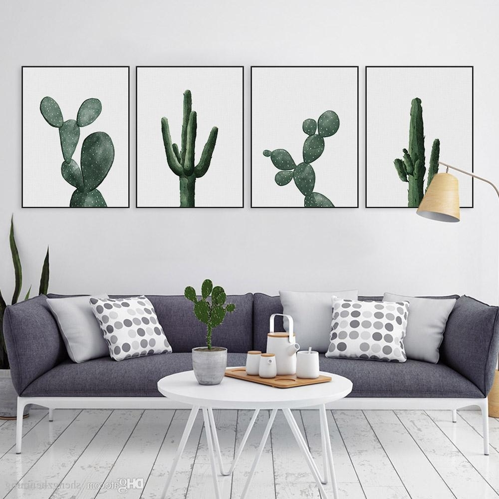 Recent Cactus Wall Art For 2018 Nordic Modern Floral Watercolor Green Cactus Canvas Big A4 Art (Gallery 7 of 20)