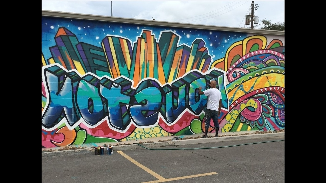 Recent Downtown Urban Art Mural Vandalized During Festival In Houston Wall Art (View 15 of 20)