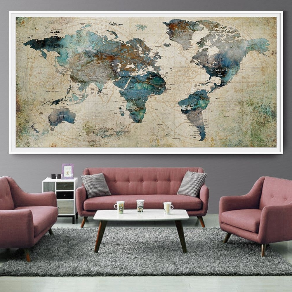 Recent Extra Large Wall Art Throughout Extra Large Wall Art Push Pin World Map Art Print, Large Wall Decor (Gallery 8 of 20)