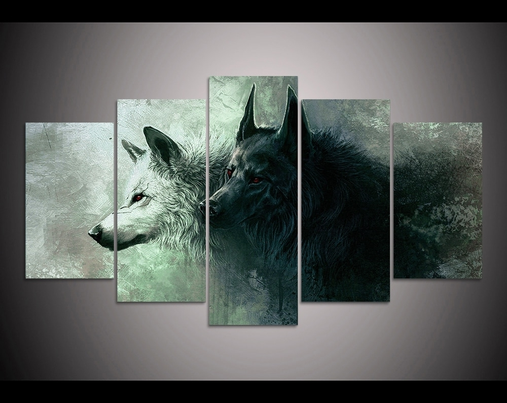 Recent Five Piece Canvas Wall Art Throughout Hd Print 5 Pieces Canvas Wall Art Print Wolf Painting Canvas Modern (View 15 of 20)