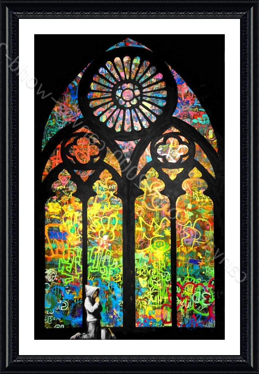 Recent Framed Poster Stained Glass Window Church Cathedral Banksy Wall Art With Stained Glass Wall Art (View 3 of 20)