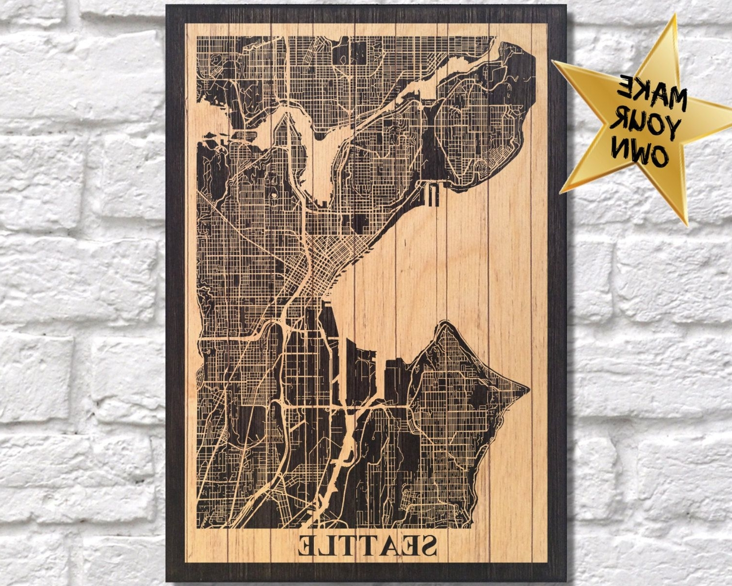 Recent Guitar Patent Print Wood Wall Art Music Patent Poster Music Gift For Within Seattle Map Wall Art (View 3 of 20)