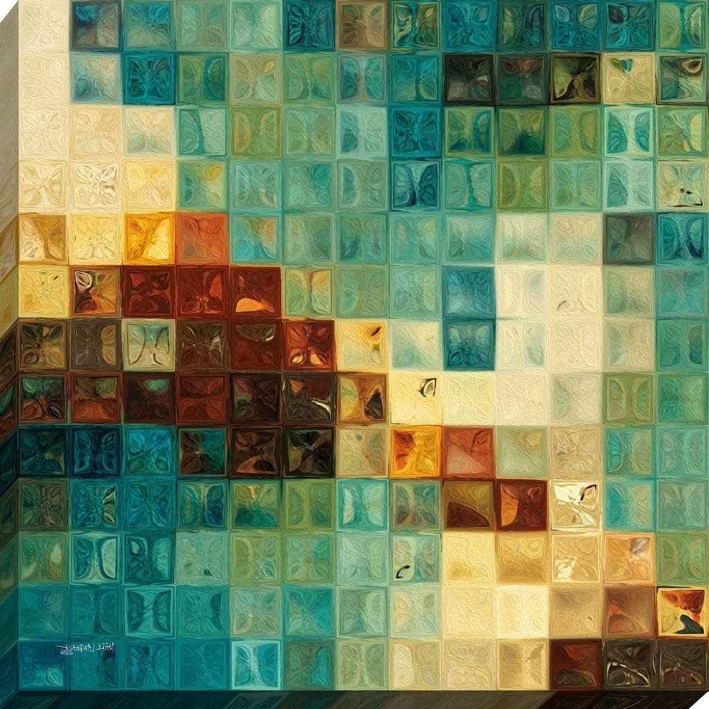 "Recent Mark Lawrence ""aqua Tiles"" Giclee Stretched Canvas Wall Art – Ships Regarding Tile Canvas Wall Art (View 8 of 20)"