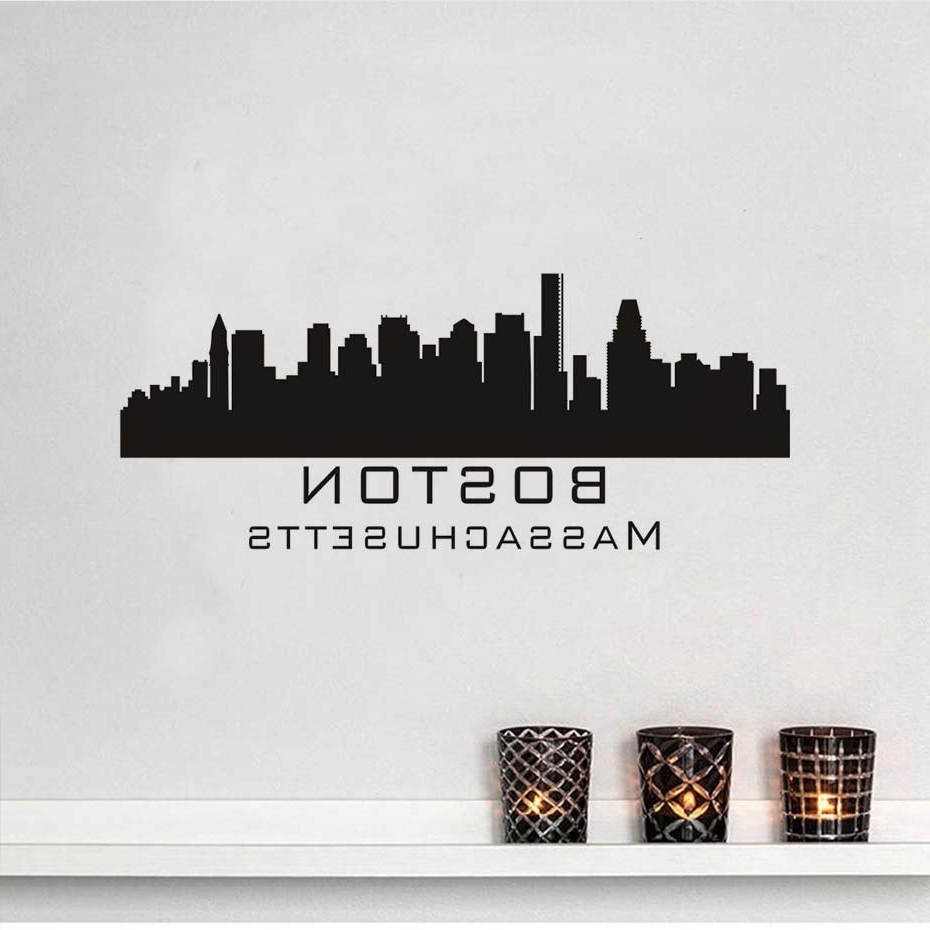 Recent Massachusetts Boston City Wall Sticker Skyline Bangunan Silhouette With Regard To Boston Wall Art (View 16 of 20)