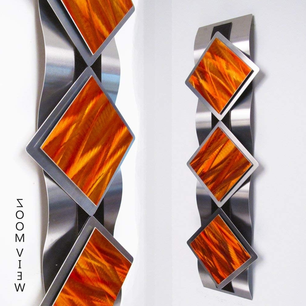 Recent Orange Wall Art Within Mystic Reflections, Inferno Modern Abstract Metal Wall Art Sculpture (View 18 of 20)