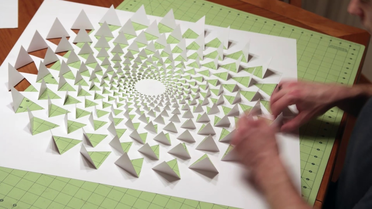 Recent Paper Wall Art Regarding 3D Optical Illusion Mandala Wall Art Using One Sheet Of Paper – Youtube (View 4 of 20)