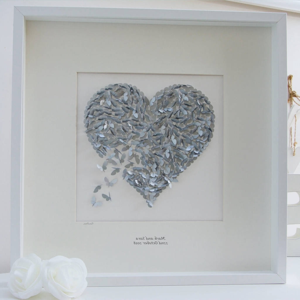 Recent Silver Wedding Anniversary Butterfly Heart Wall Artinkywool Within Silver Wall Art (View 11 of 20)