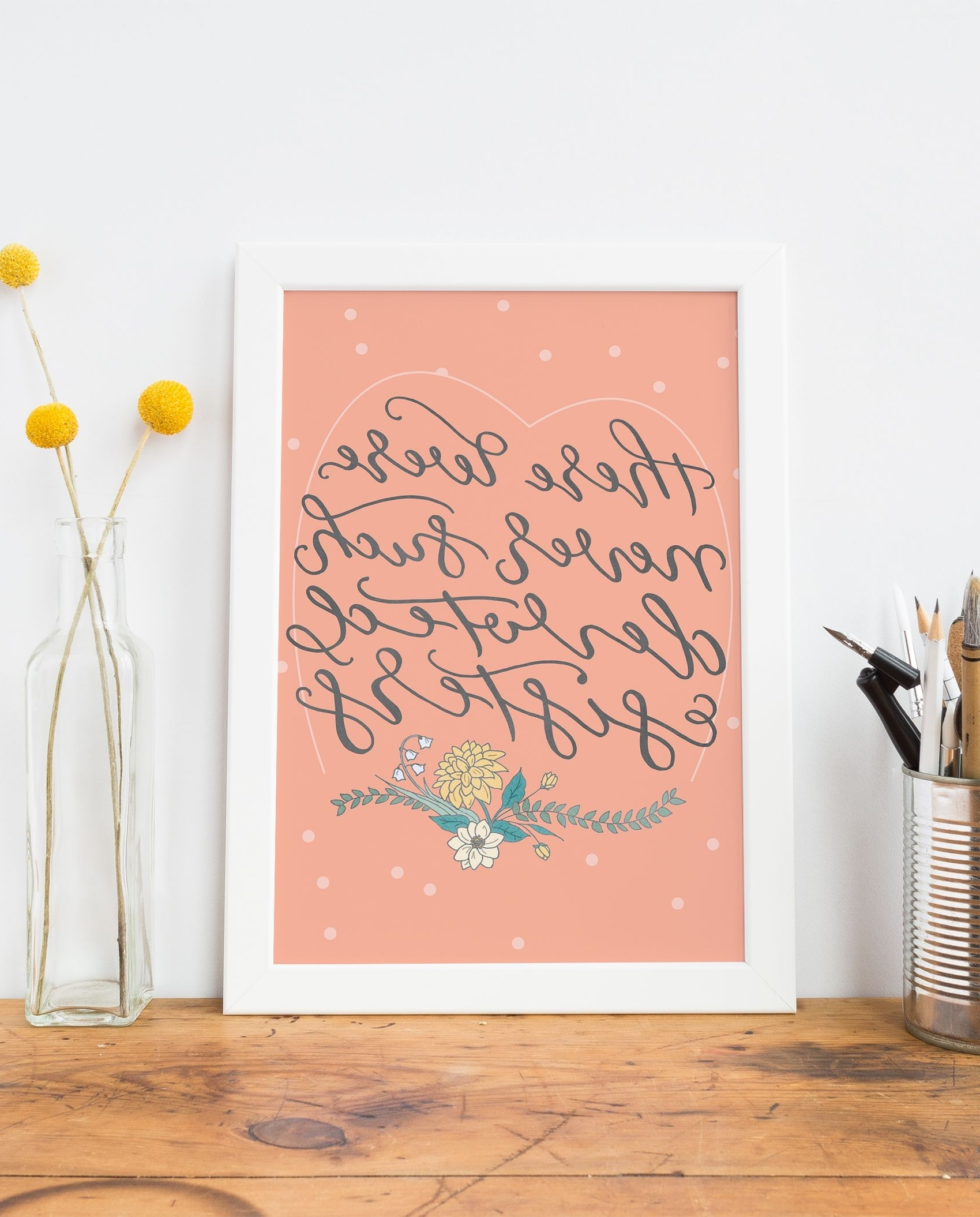 Recent Sisters Quote Art Print  Unique Gifts For Sisters, Hand Lettered Pertaining To Coral Wall Art (Gallery 19 of 20)